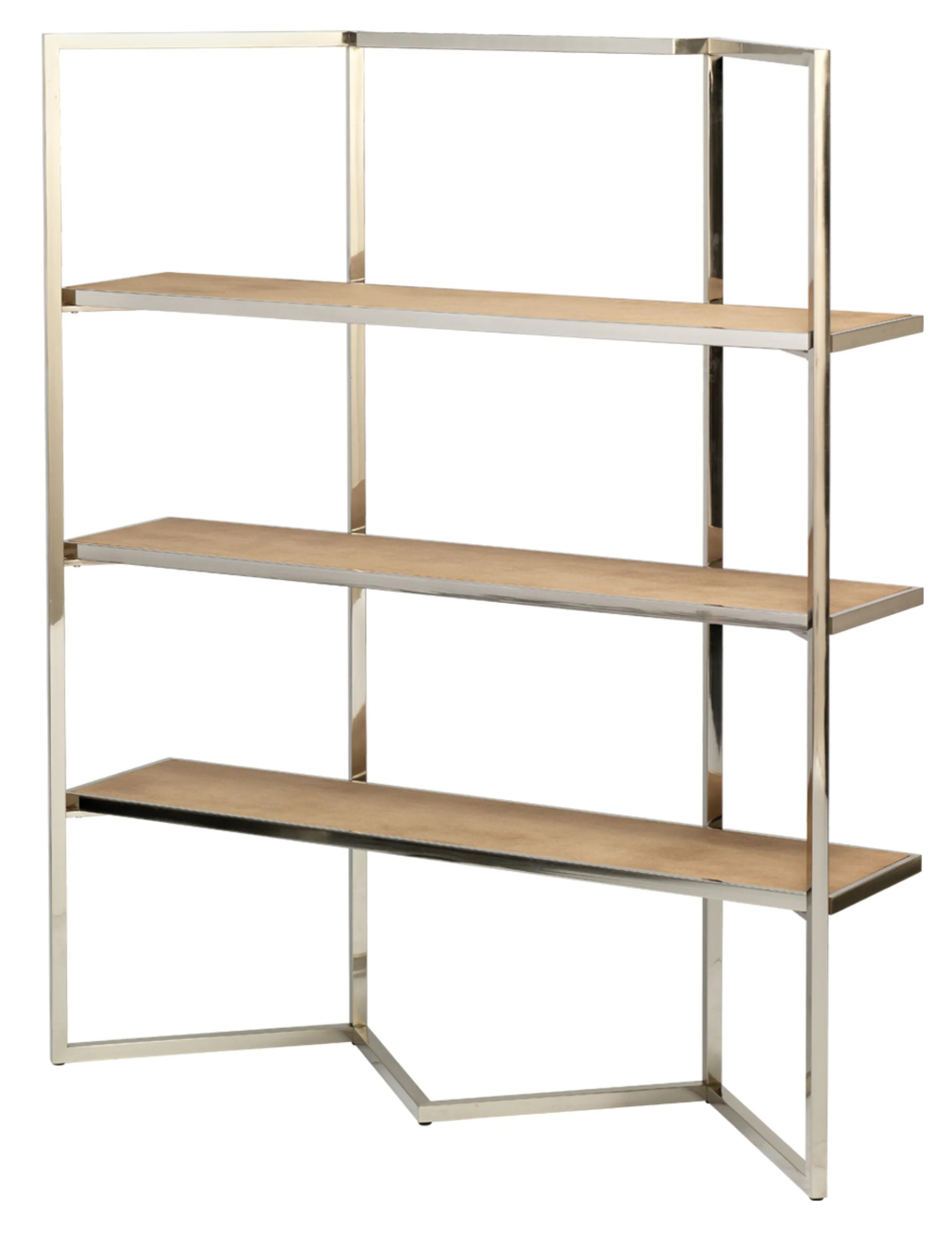 Etagere Metal Chevron Etagere In Beige Faux Shagreen Nickel Metal