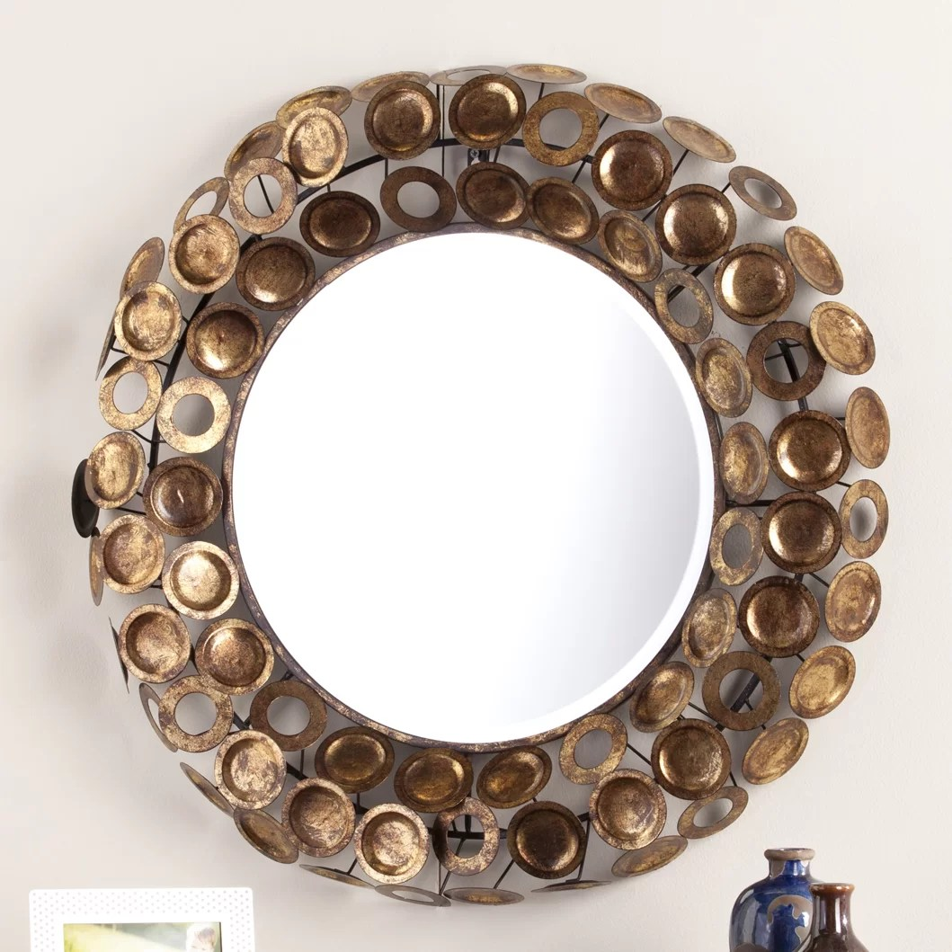 Decorative Mirror Round Galvanized Burnished Gold And Copper Decorative Wall Mirror