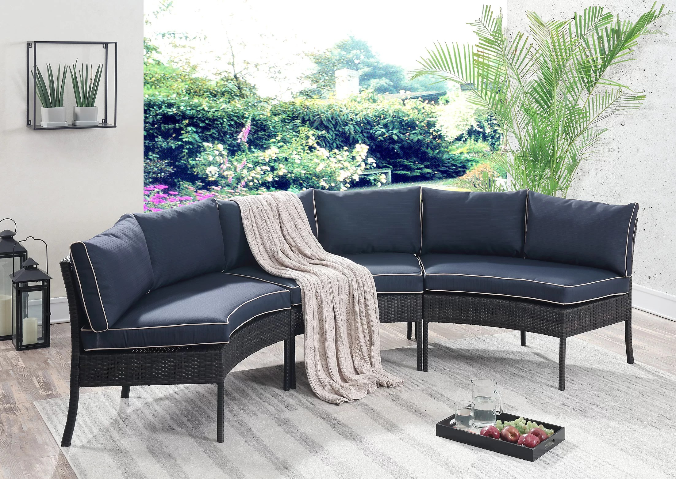 Outdoor Couch Petunia Circular Patio Sectional With Cushions