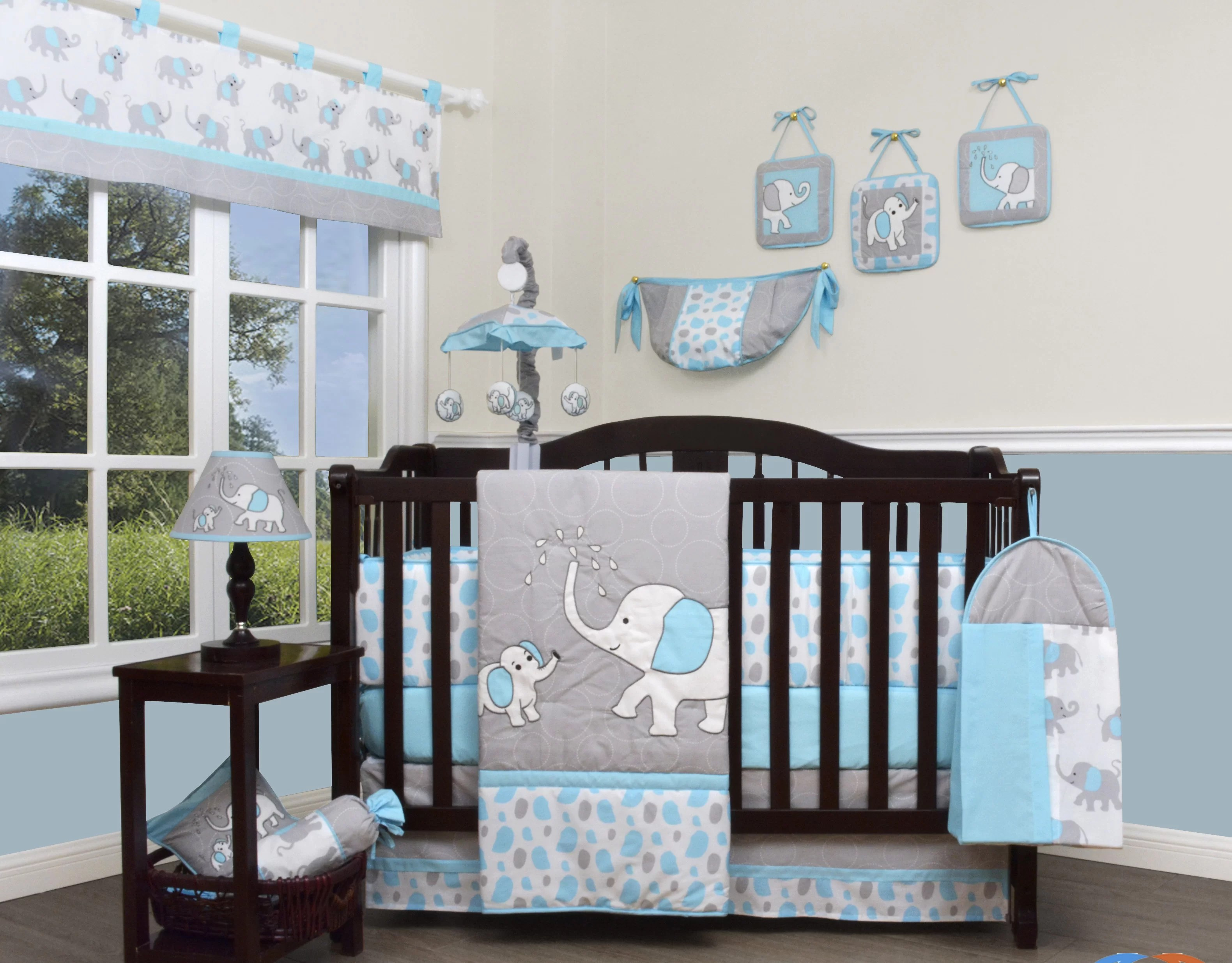 Full Crib Bedding Sets Blizzard Elephant 13 Piece Crib Bedding Set