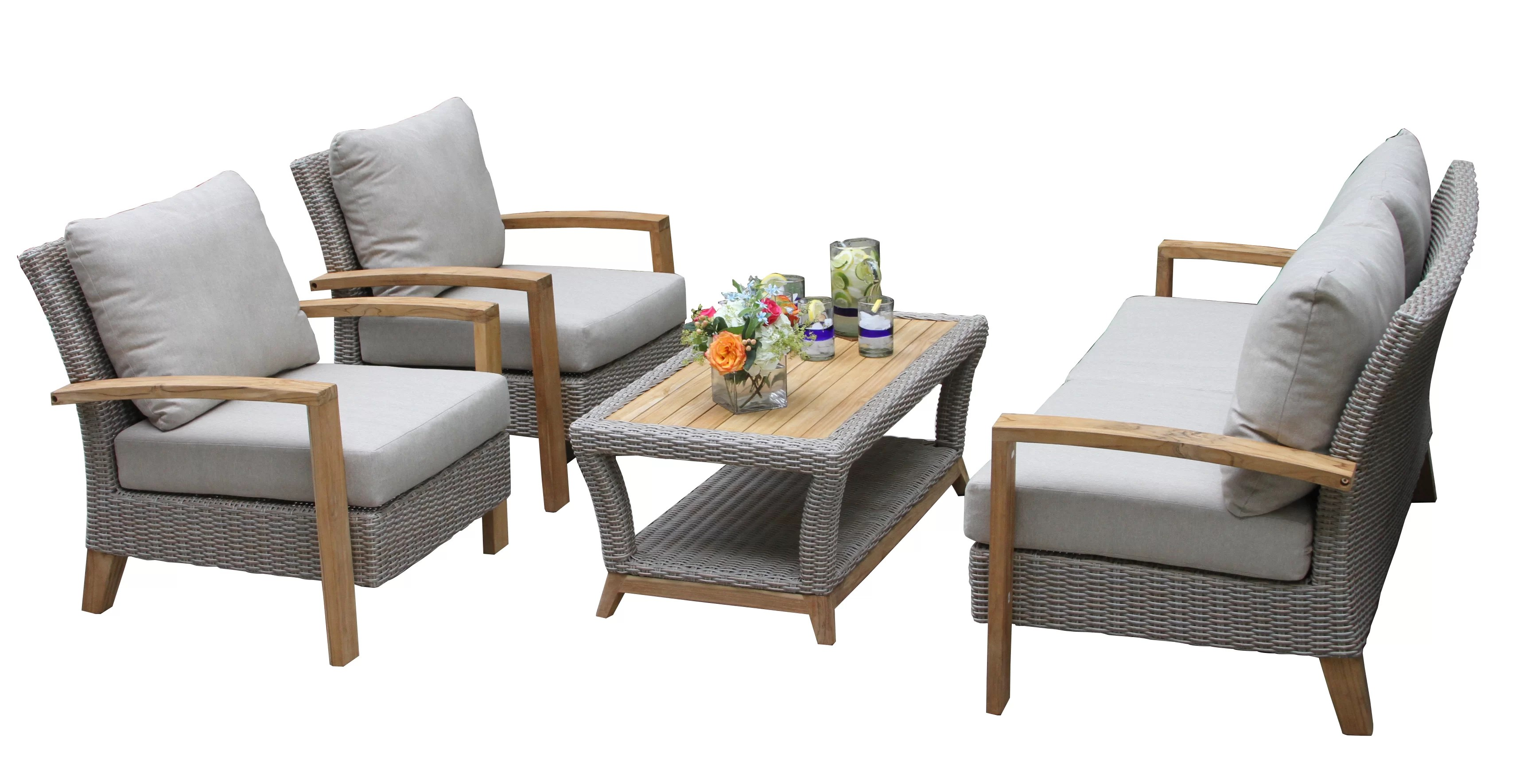 Rattan Sofa Dillard 4 Piece Rattan Sofa Seating Group With Cushions