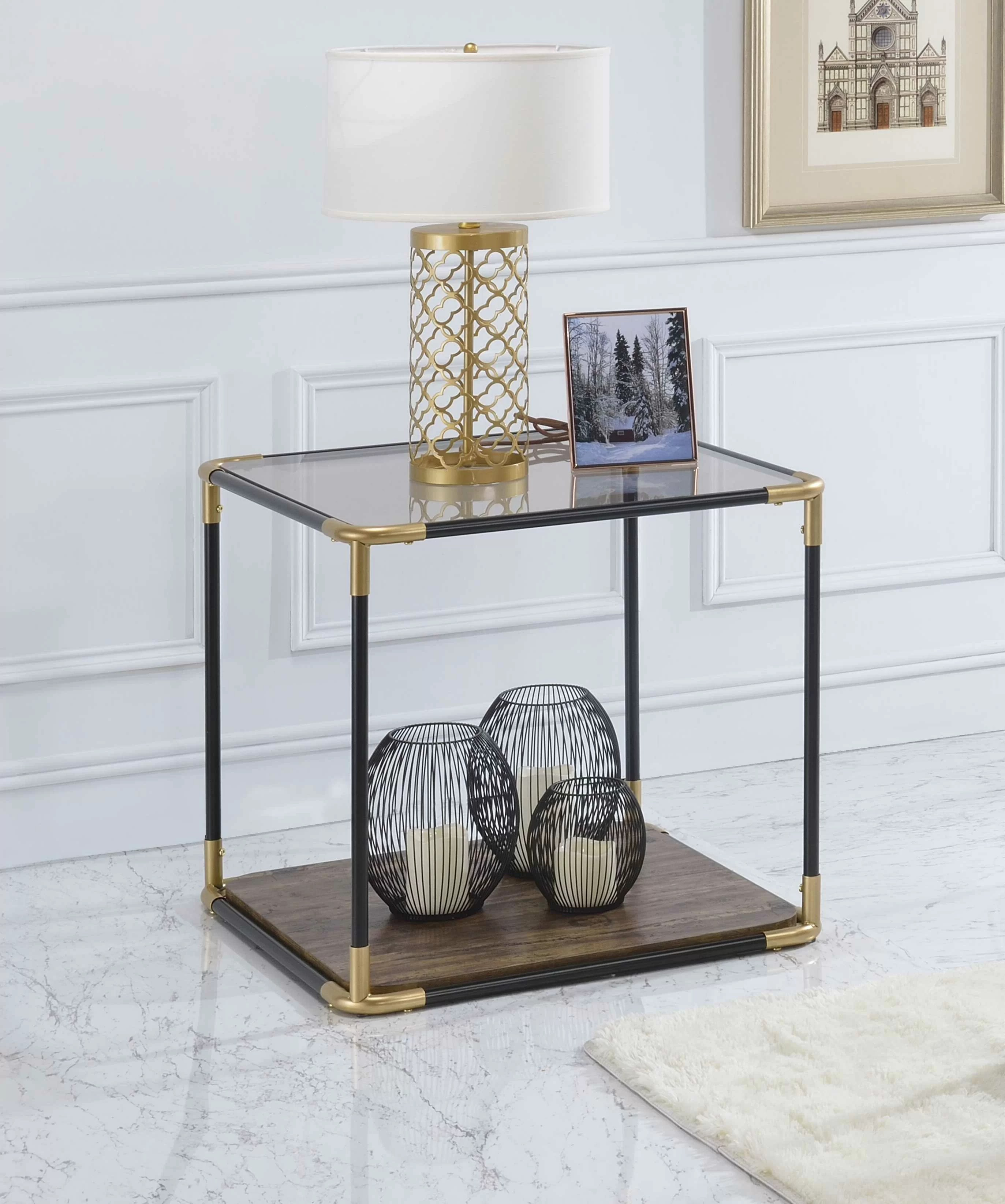 Mercer41 Ahner Glass Top Floor Shelf End Table With Storage Wayfair