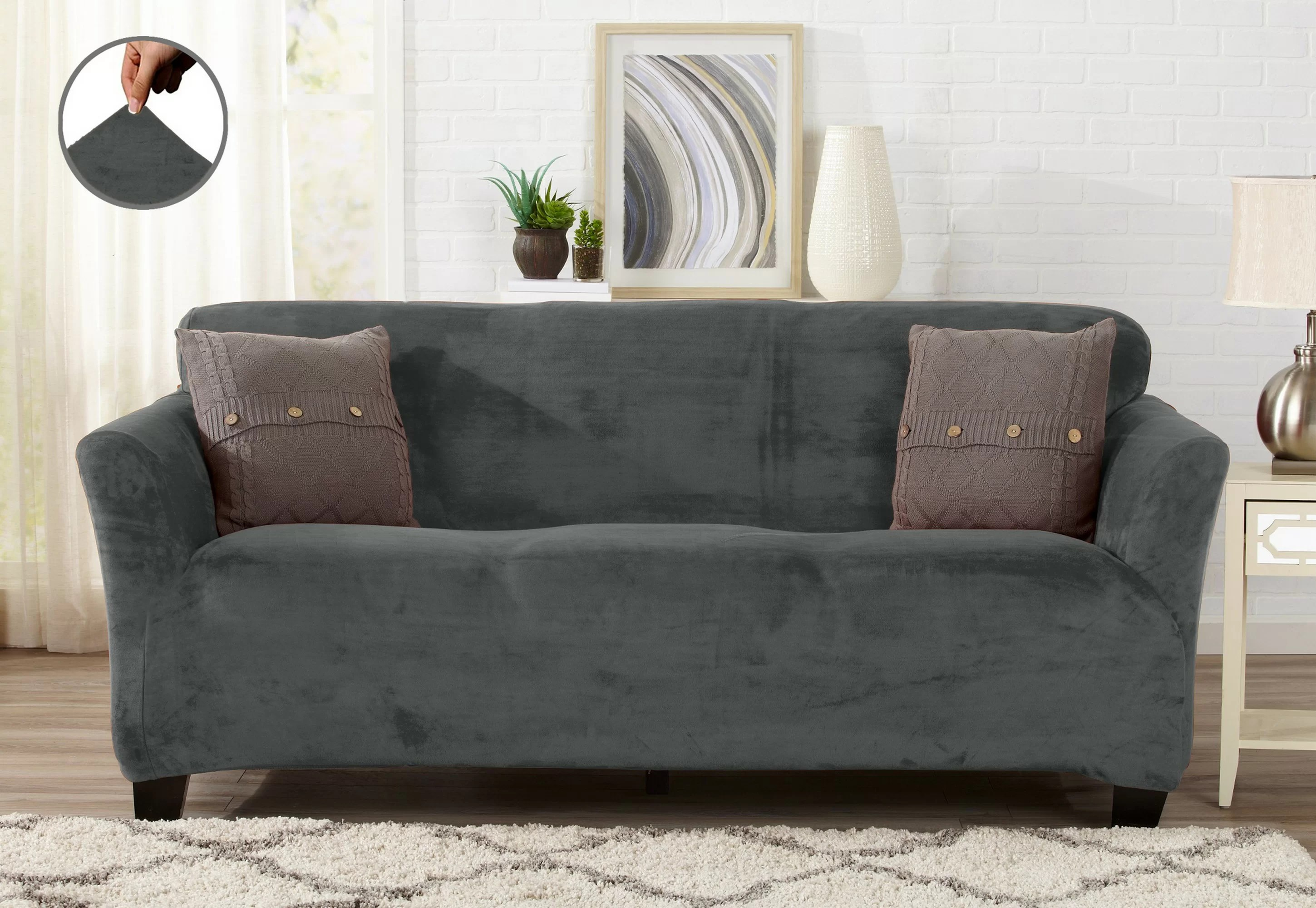 Fitted Slipcovers Couches Velvet Plush Form Fit Stretch Box Cushion Sofa Slipcover