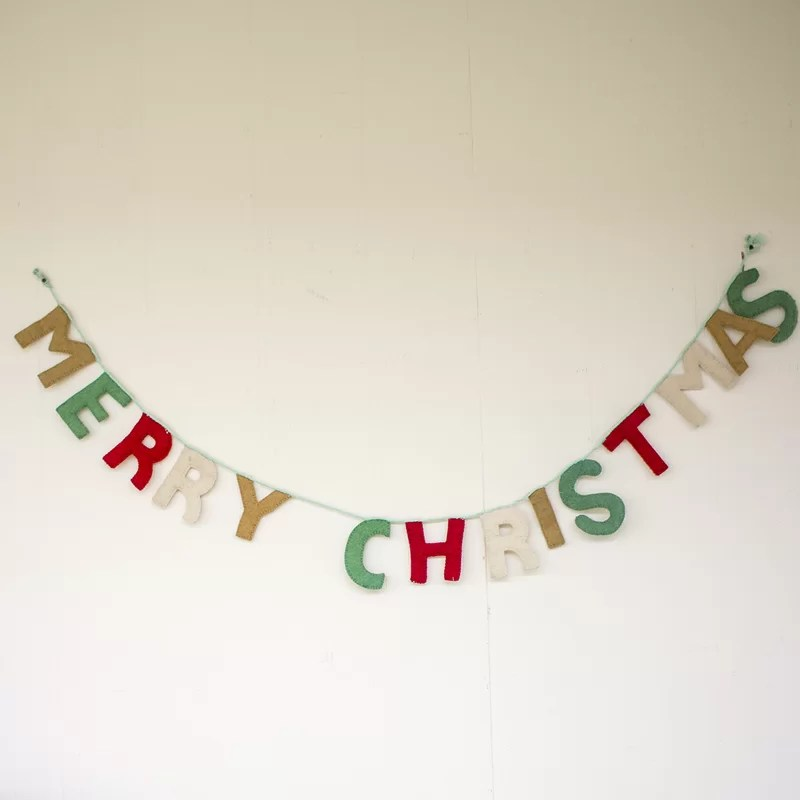 red realistic detailed curved paper merry christmas banner with snow