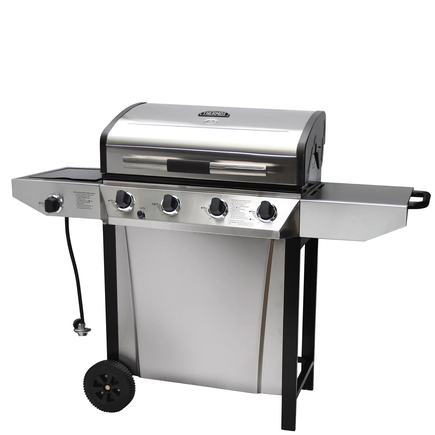 Outdoor Grill Thermos 4 Burner Liquid Propane Gas Grill With Side Shelves