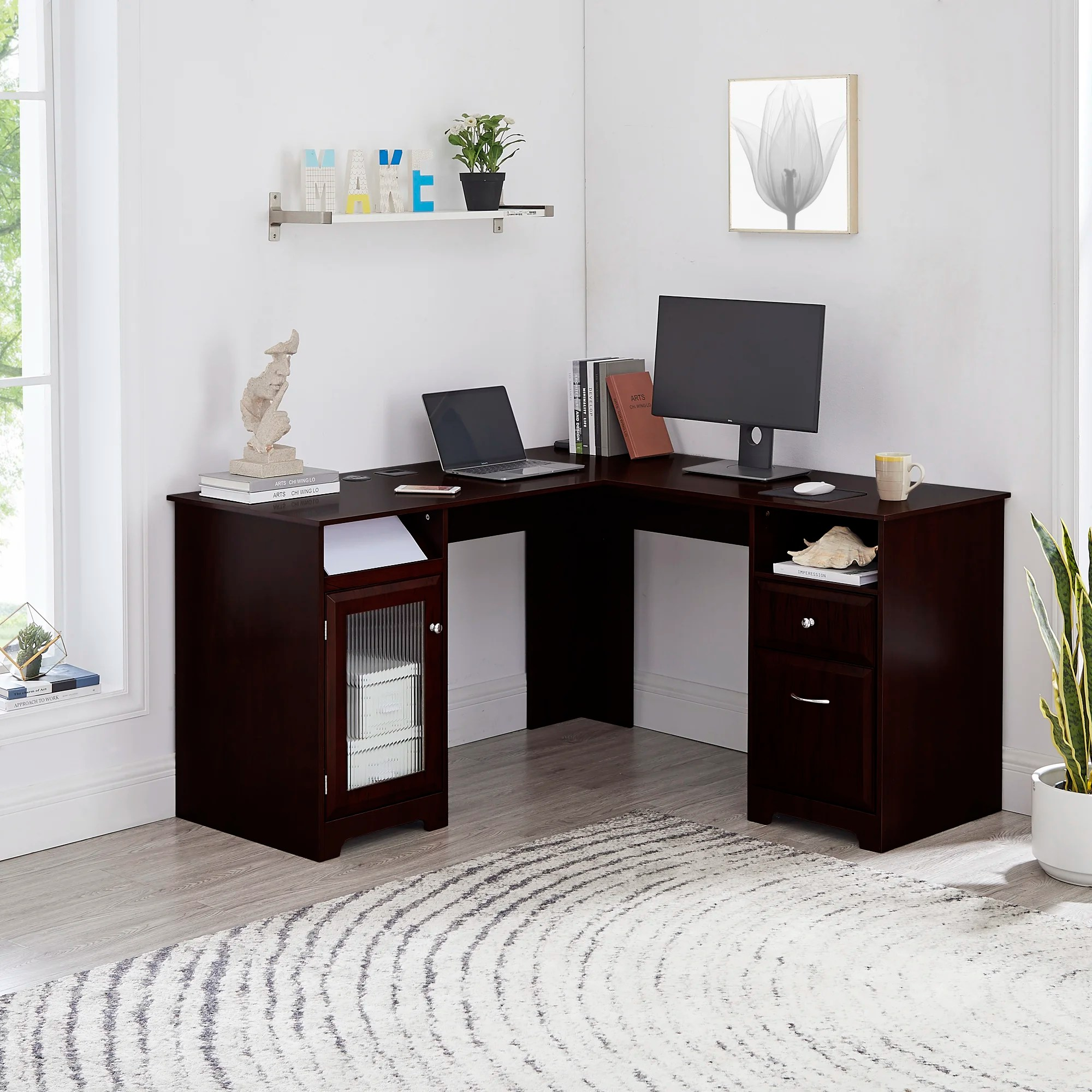 Upper Square Carlton Home Office L Shaped Executive Desk Reviews Wayfair