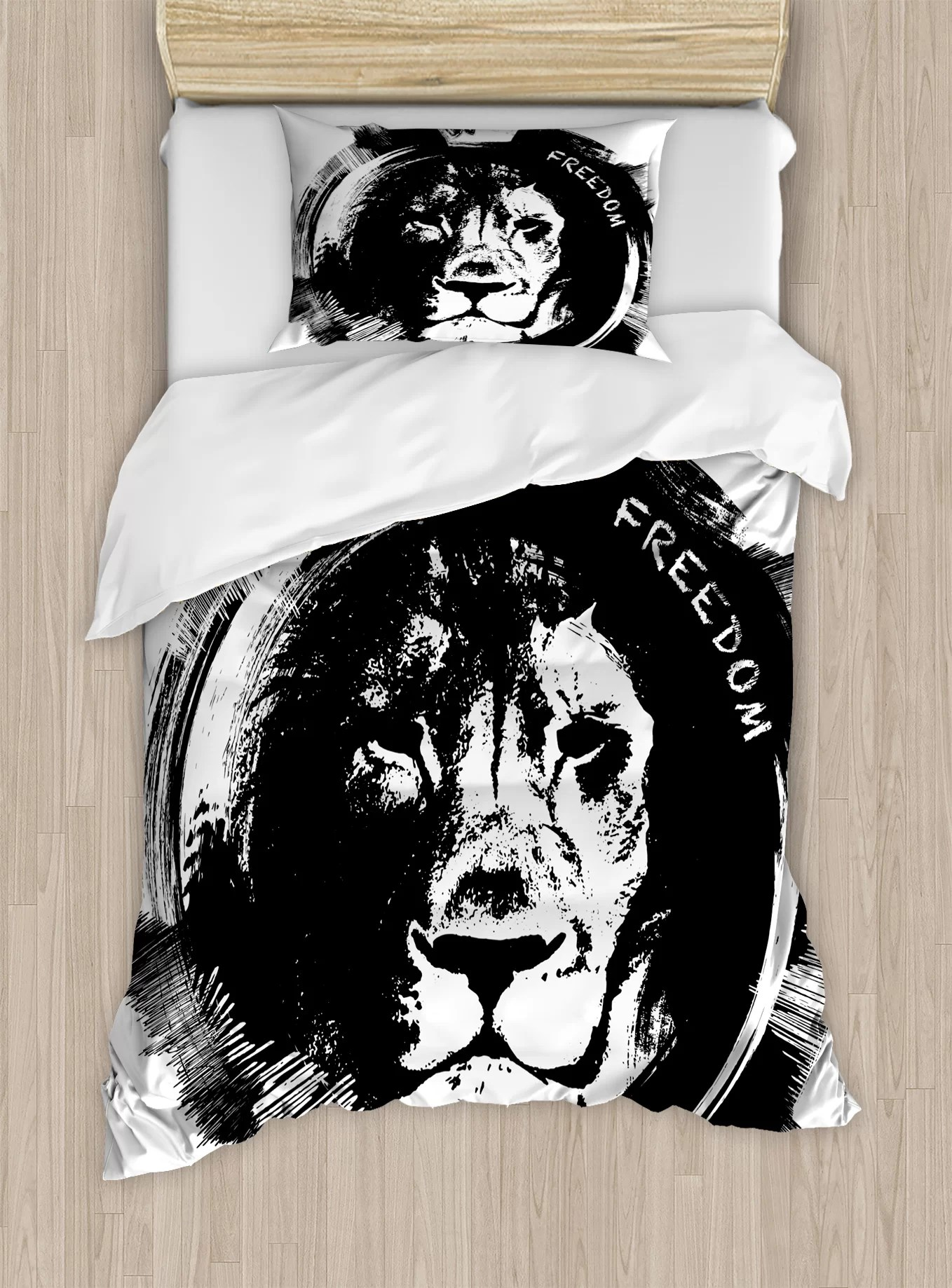 Freedom Bed Head Ambesonne Lion King Of The Forest Head Portrait Freedom Sketchy Monochrome Wild Animal Duvet Cover Set