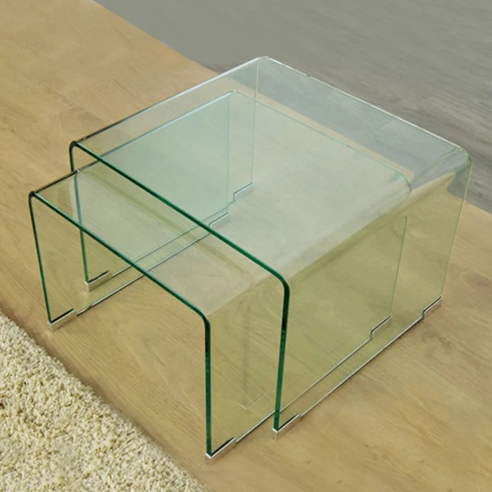 Glass Nesting Tables 2 Piece Clear Bent Glass Nesting Tables