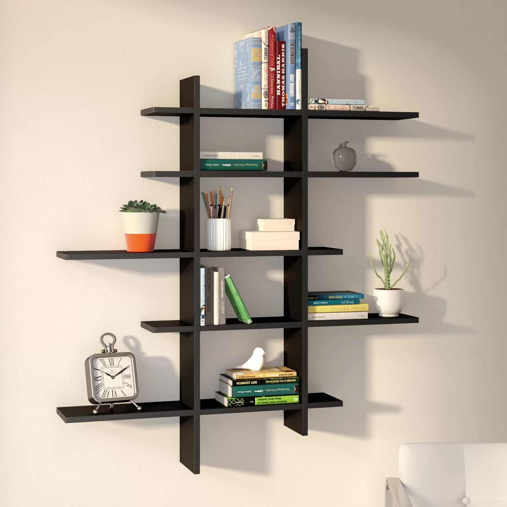 Wall Shelf Design Baileyville 5 Shelf Asymmetric Wall Shelf