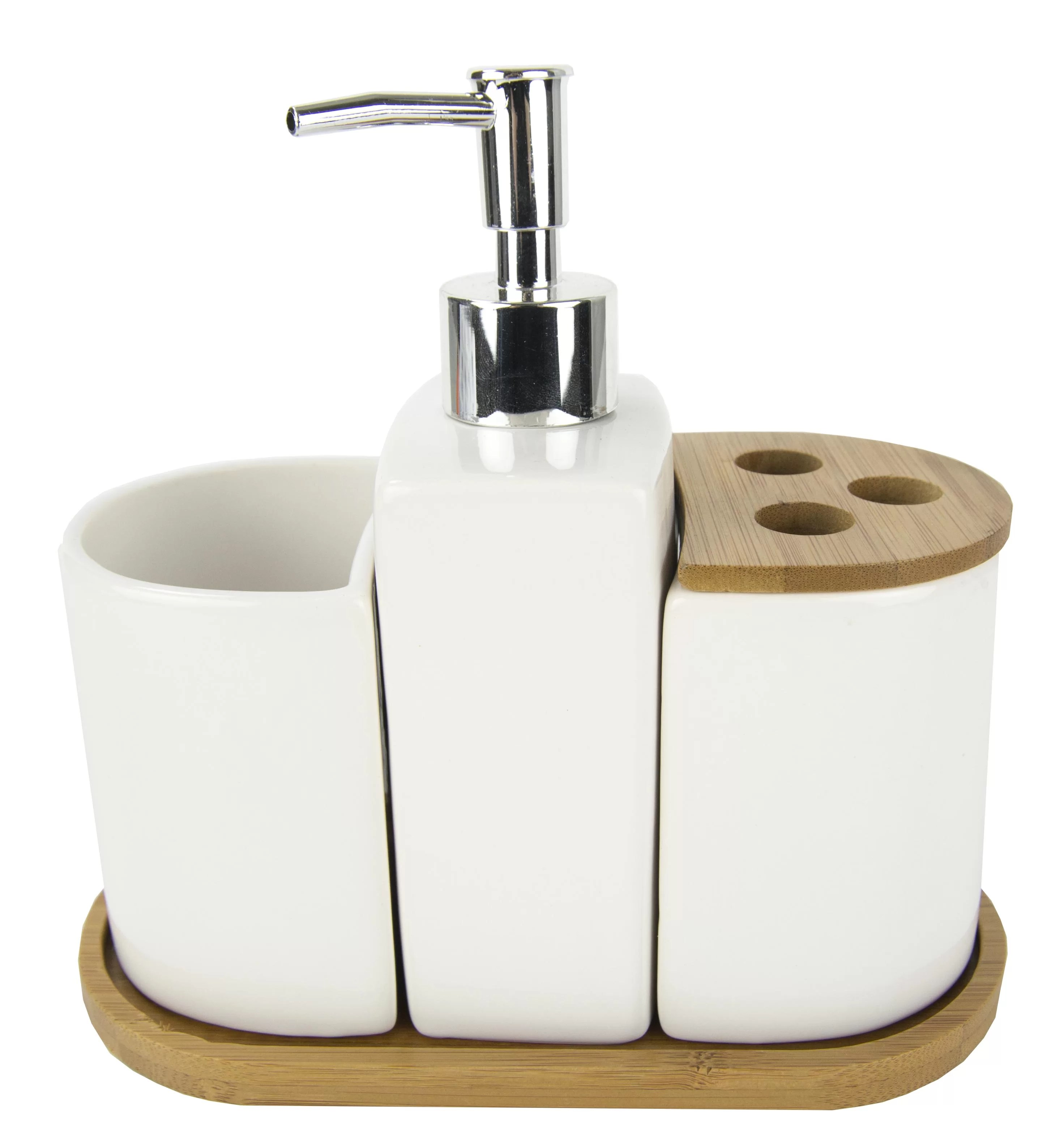 Bathroom Dispenser Set Ceramic With Bamboo Accents 4 Piece Bathroom Accessory Set