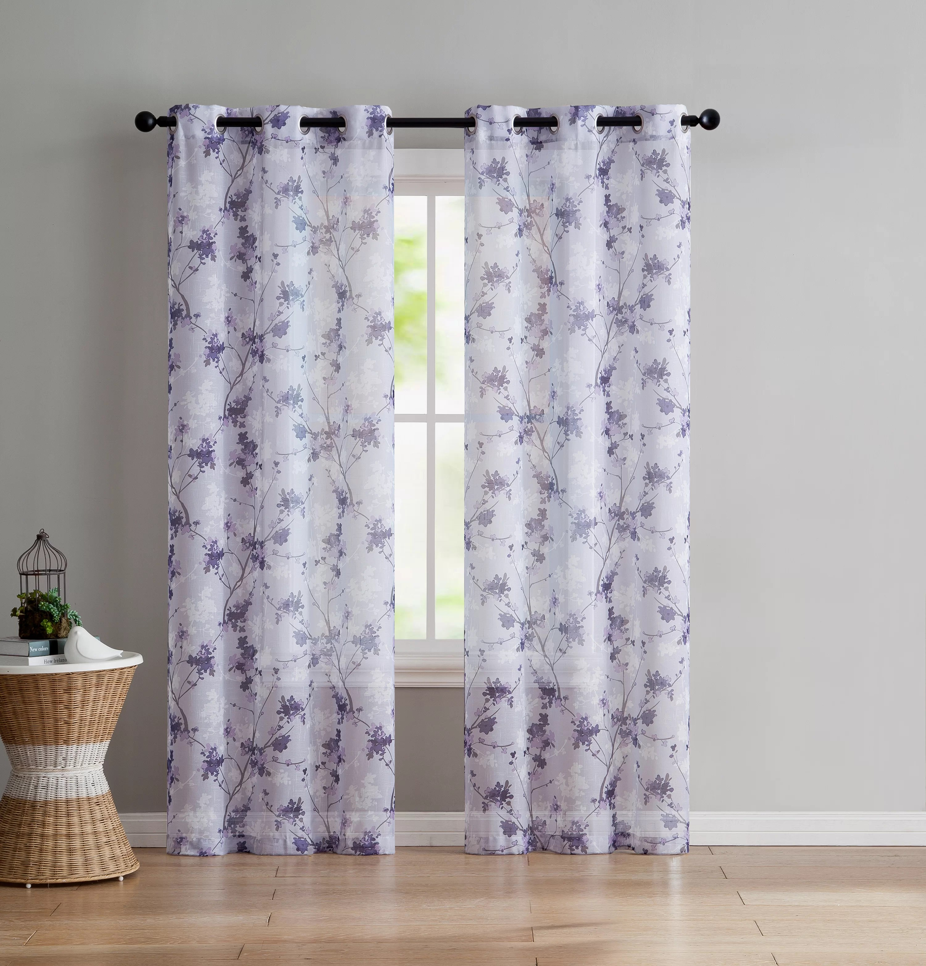 Lavender Sheer Curtains Severus Nature Floral Sheer Grommet Curtain Panels