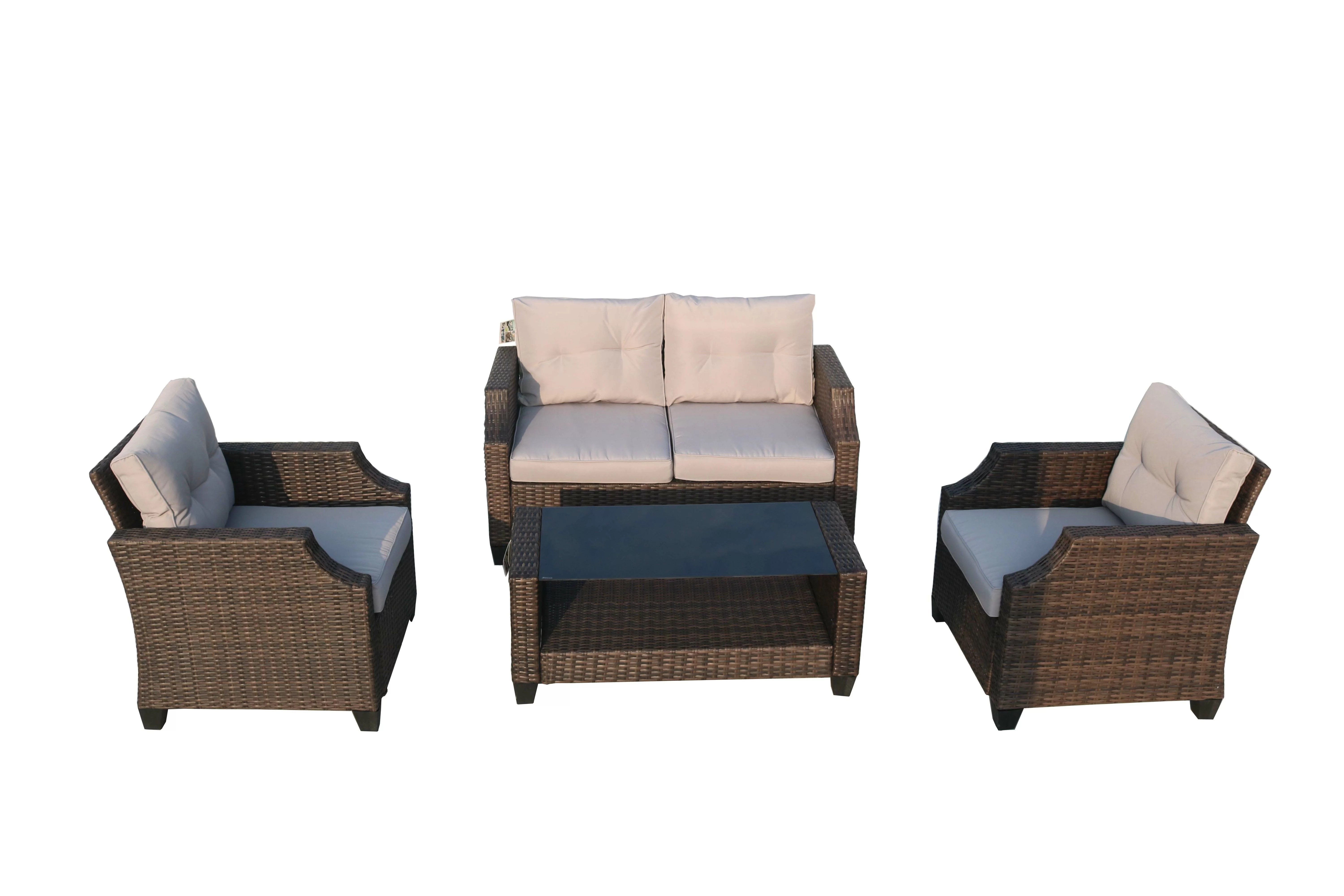 Rattan Sofa Colne 4 Piece Rattan Sofa Seating Group With Cushions