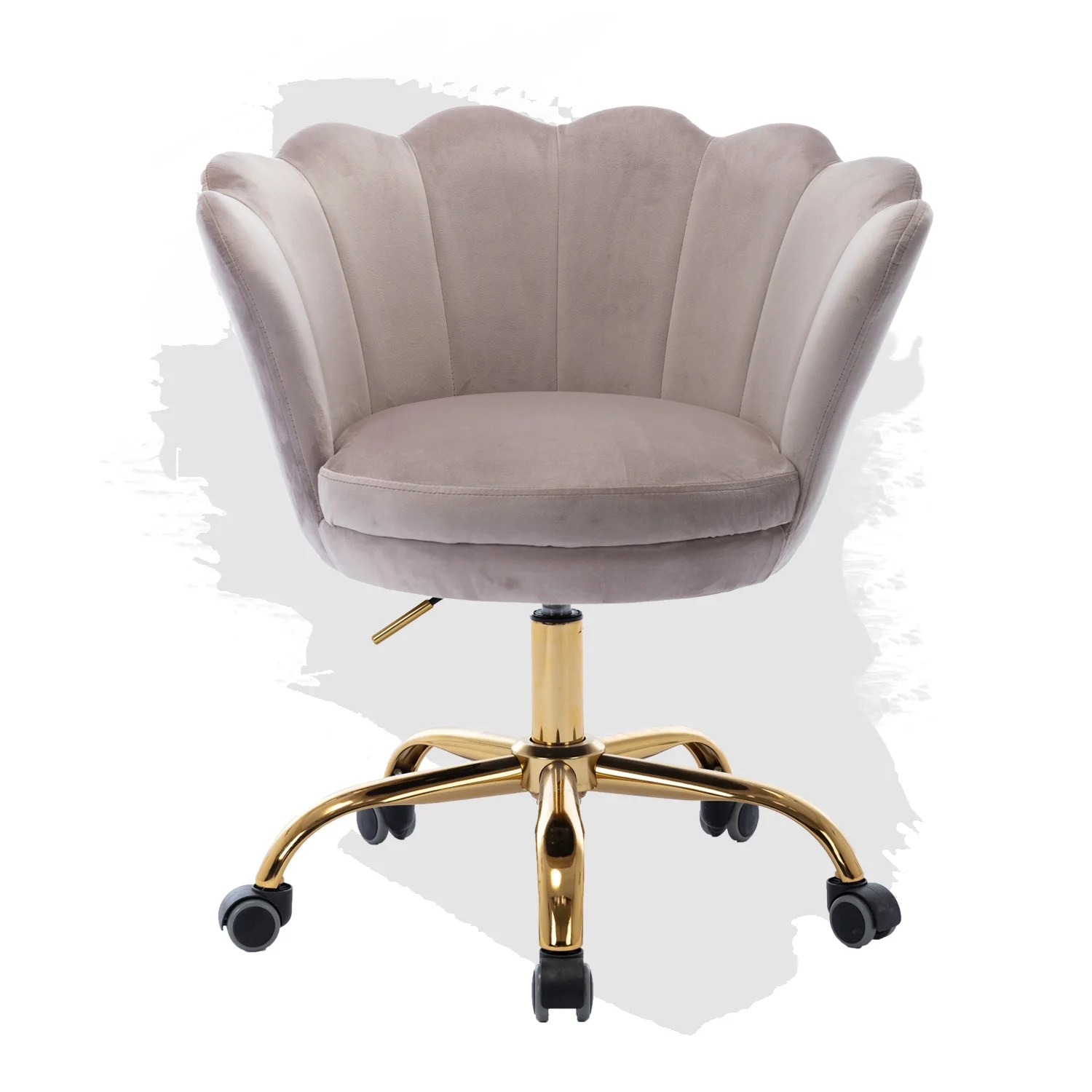 Everly Quinn Velvet Swivel Chair On 5 Rolling Castors Height Adjustable Lift Home Office Desk Chair Modern Shell Computer Chair Accent Chair Soft Furry Compact Padded Seat Vanity Living Room Bedroom And