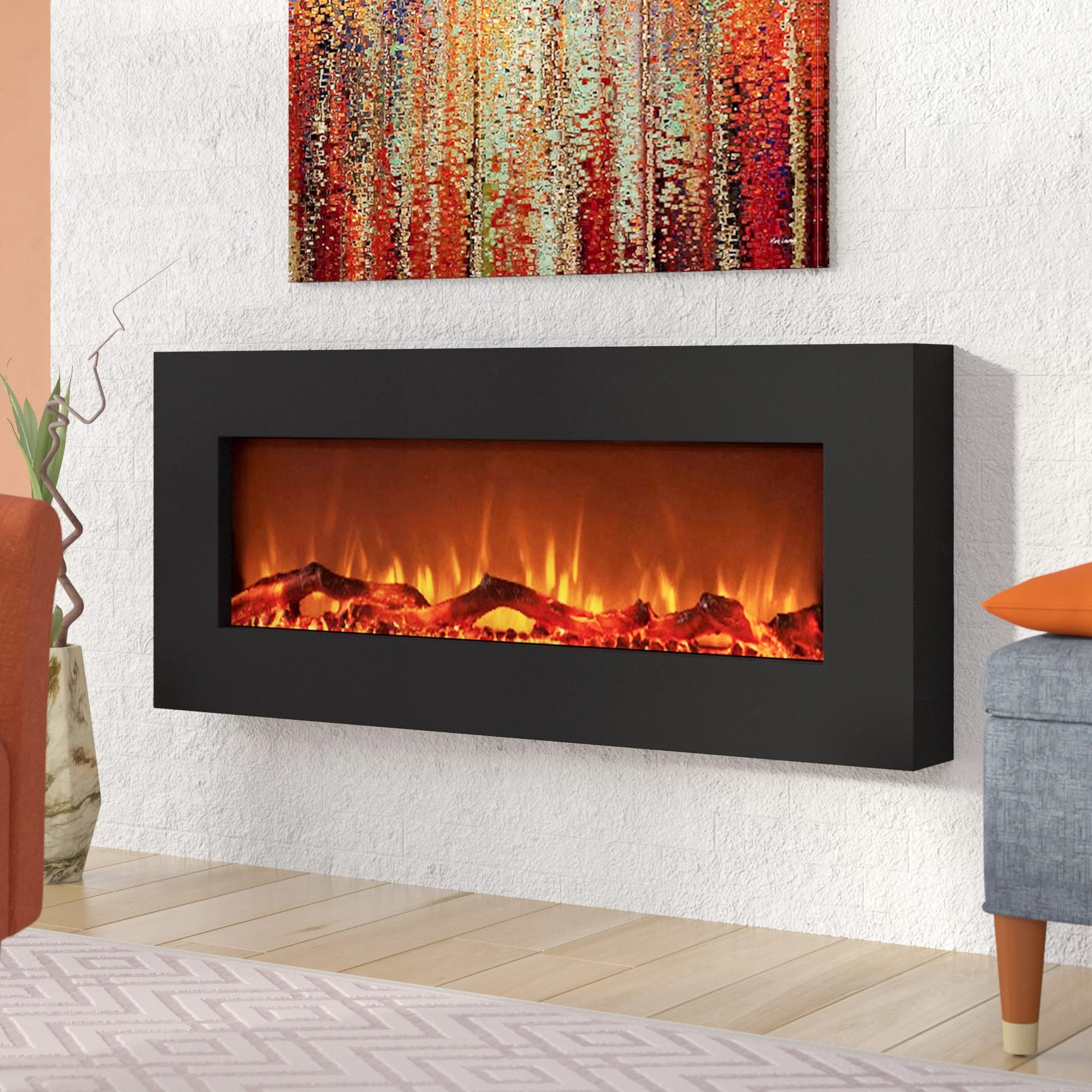 Wall Mount Fireplaces Krish Wall Mounted Electric Fireplace