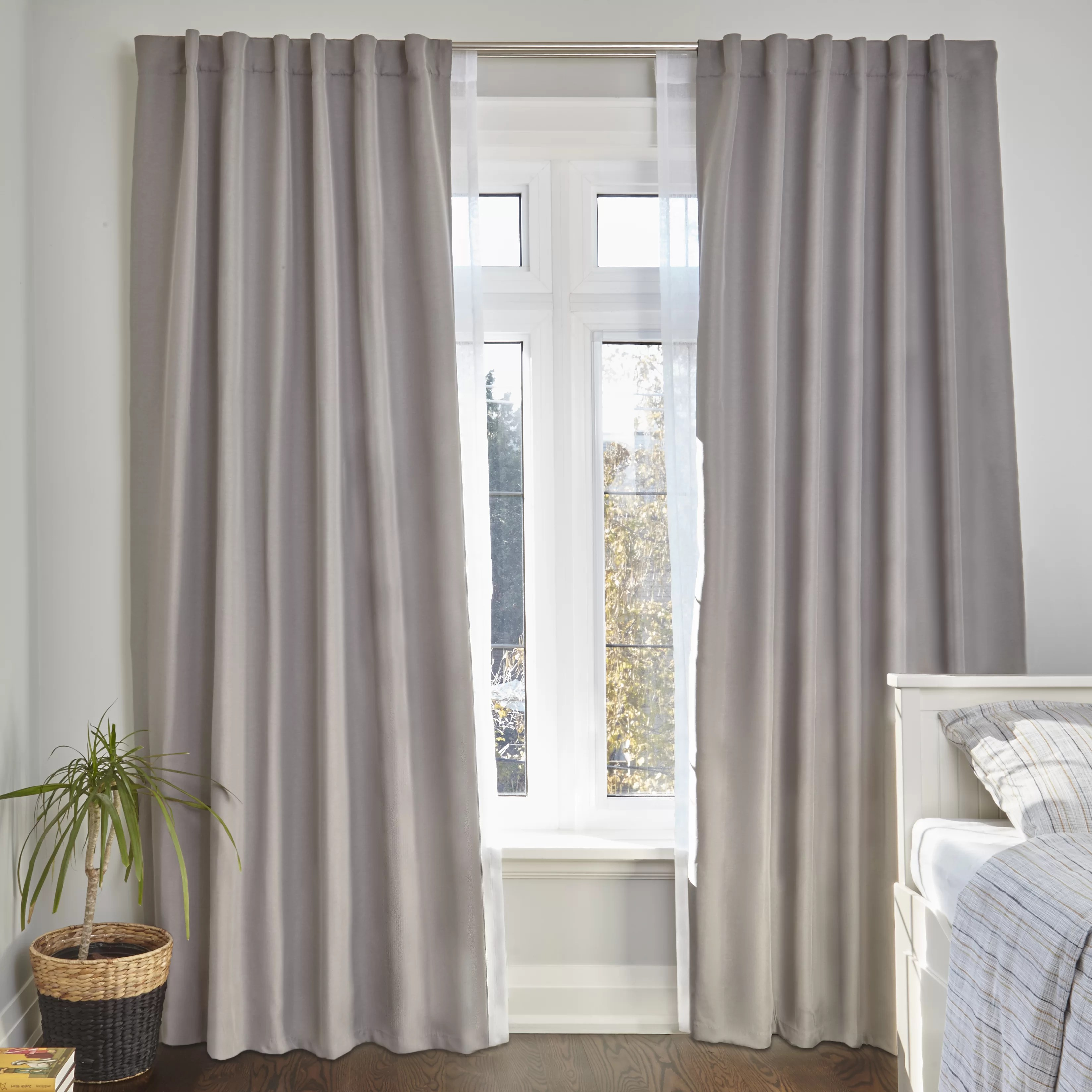 Curtain For Double Window Bushnell Room Darkening Double Curtain Rod