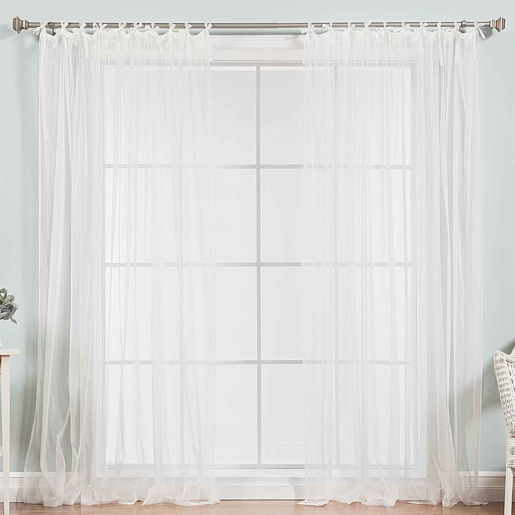 Tab Top Curtain Jeanlouis Solid Sheer Tab Top Curtain Panels