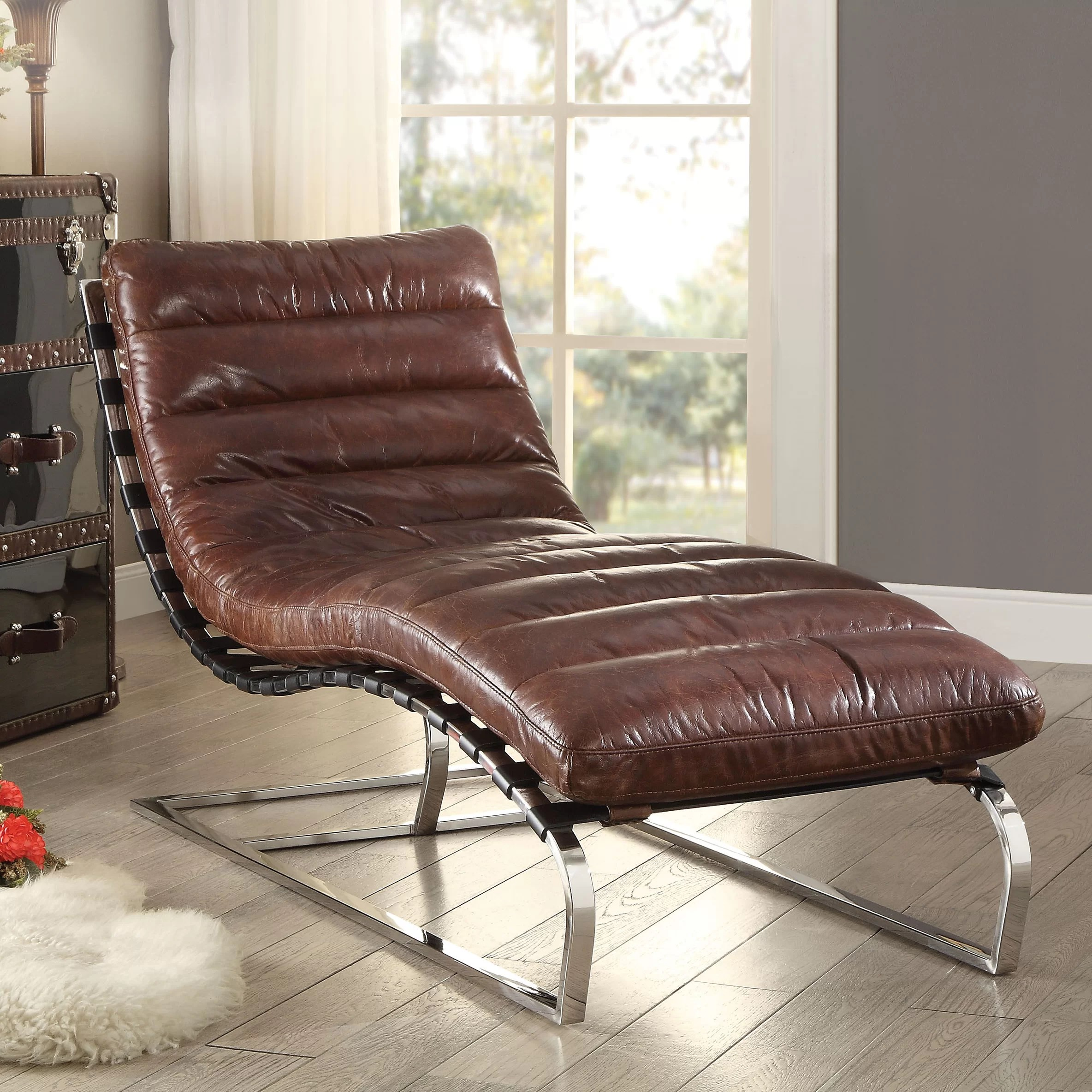17 Stories Alexcia Genuine Leather Armless Chaise Lounge Reviews Wayfair
