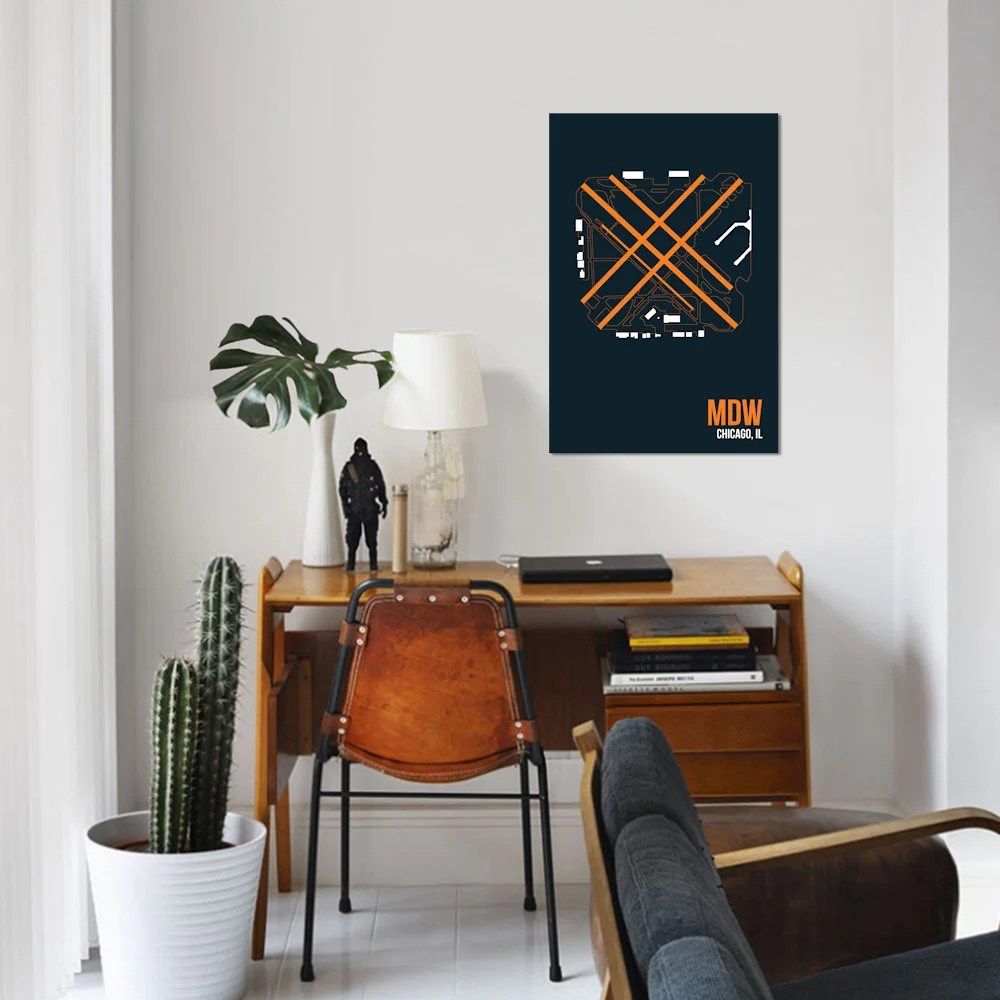 East Urban Home Airport Diagram Series Chicago Midway Graphic Art Print On Canvas Wayfair