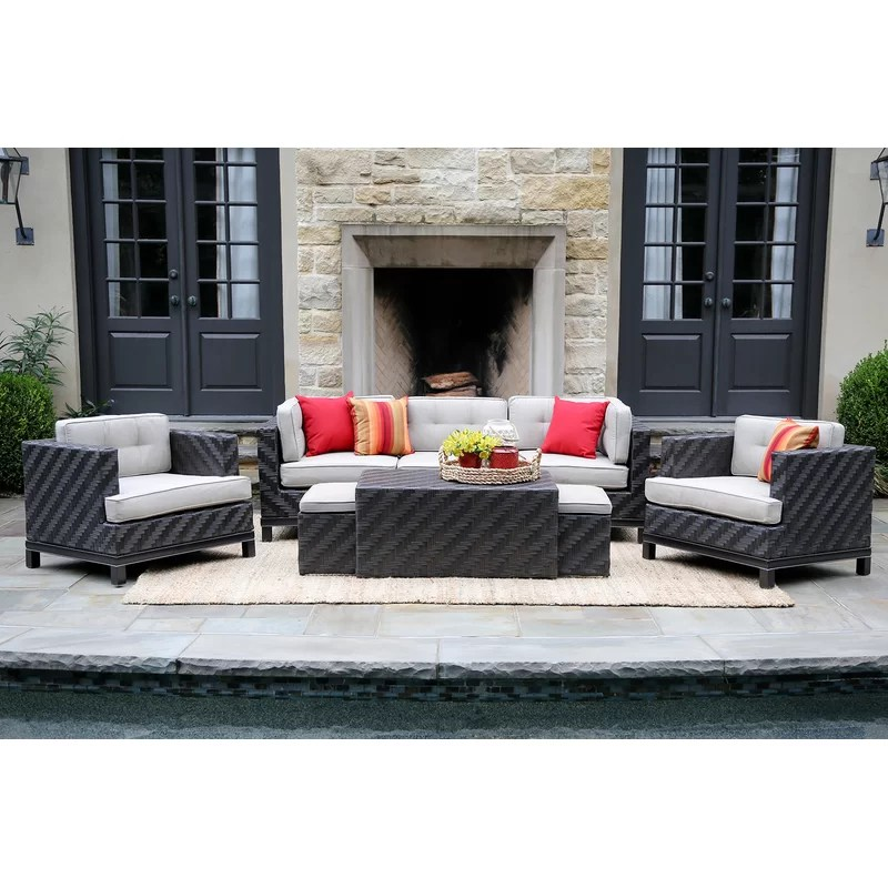 Sitzecke Rattan Yara 8 Piece Rattan Sunbrella Sofa Seating Group With