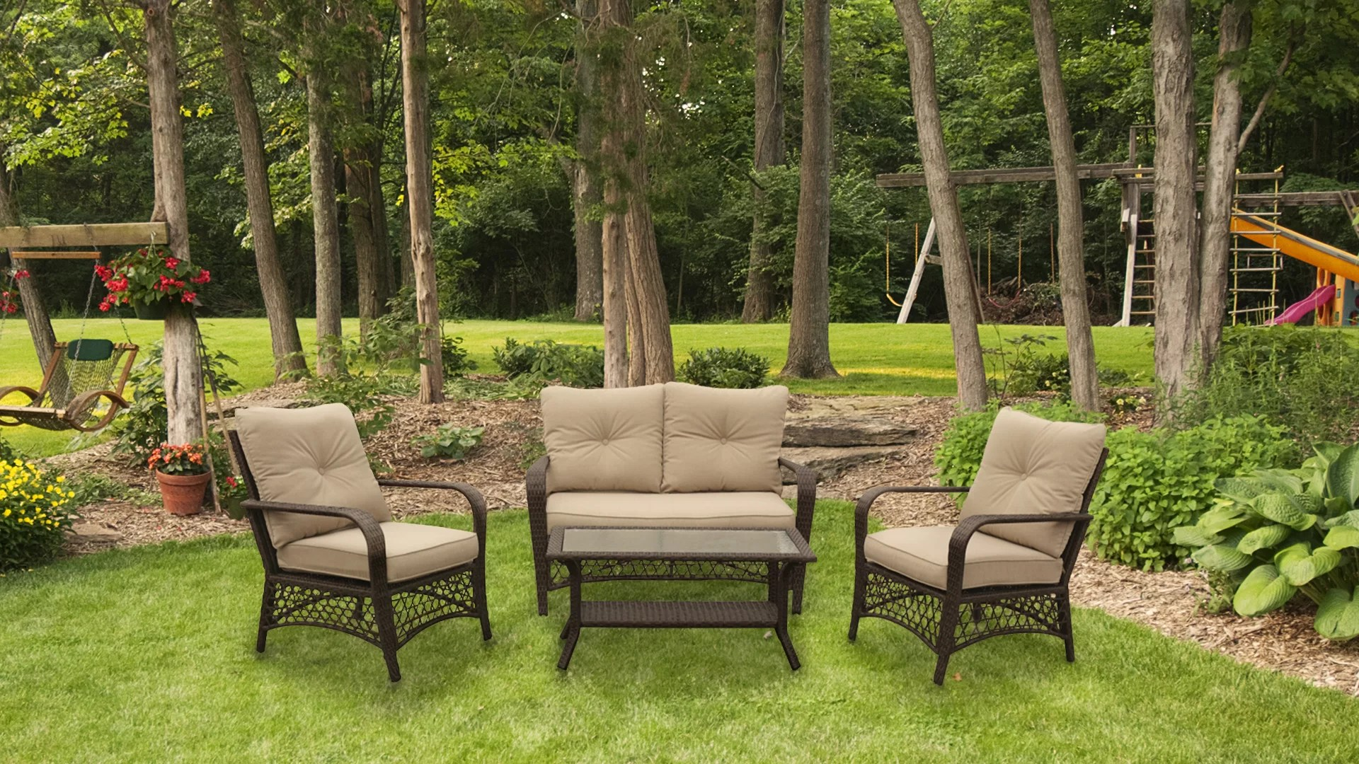 Outdoor Hartwig Hartwig 4 Piece Rattan Sofa Seating Group With Cushion