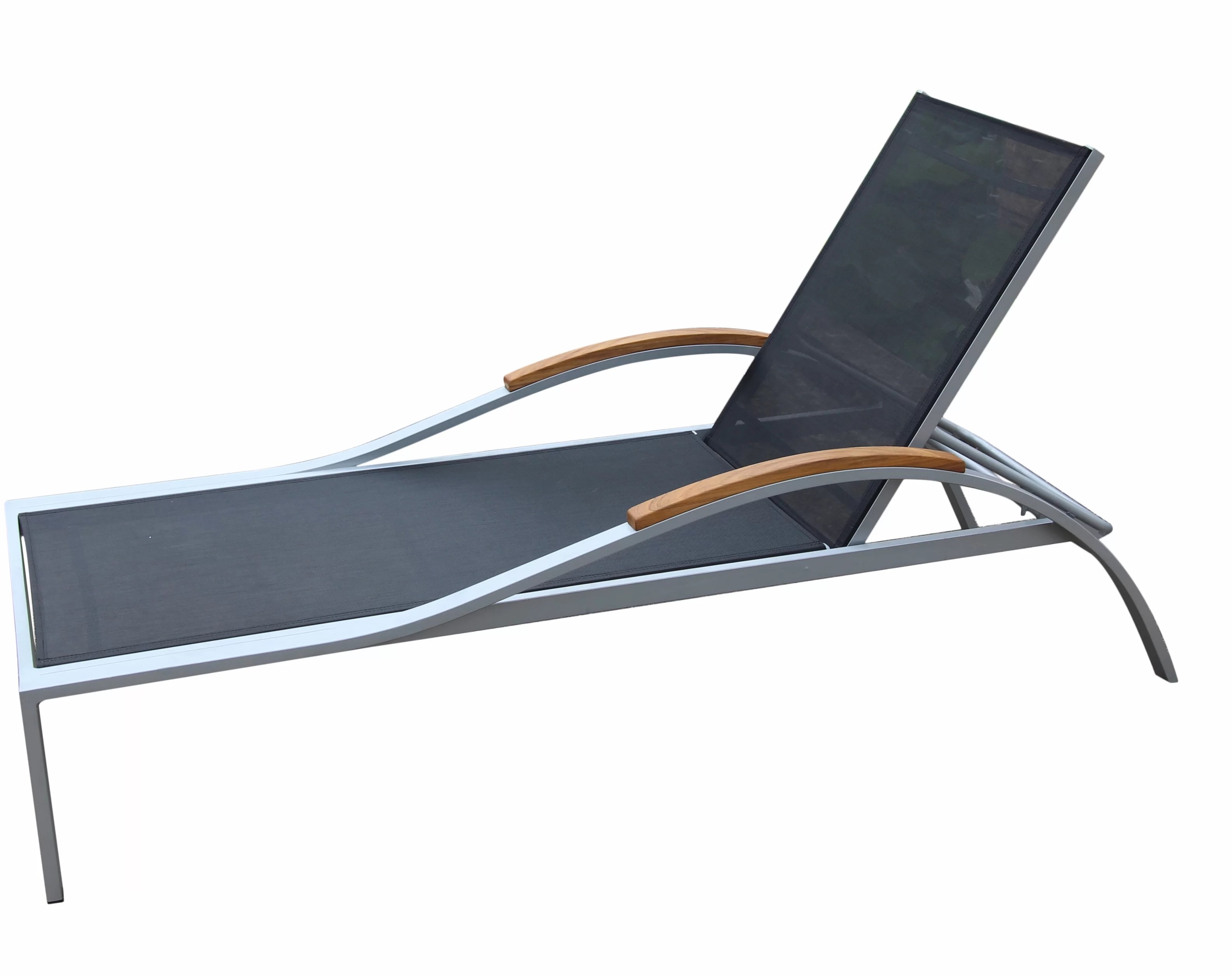 Chaises Elizabeth Dascomb Reclining Teak Chaise Lounge With Table