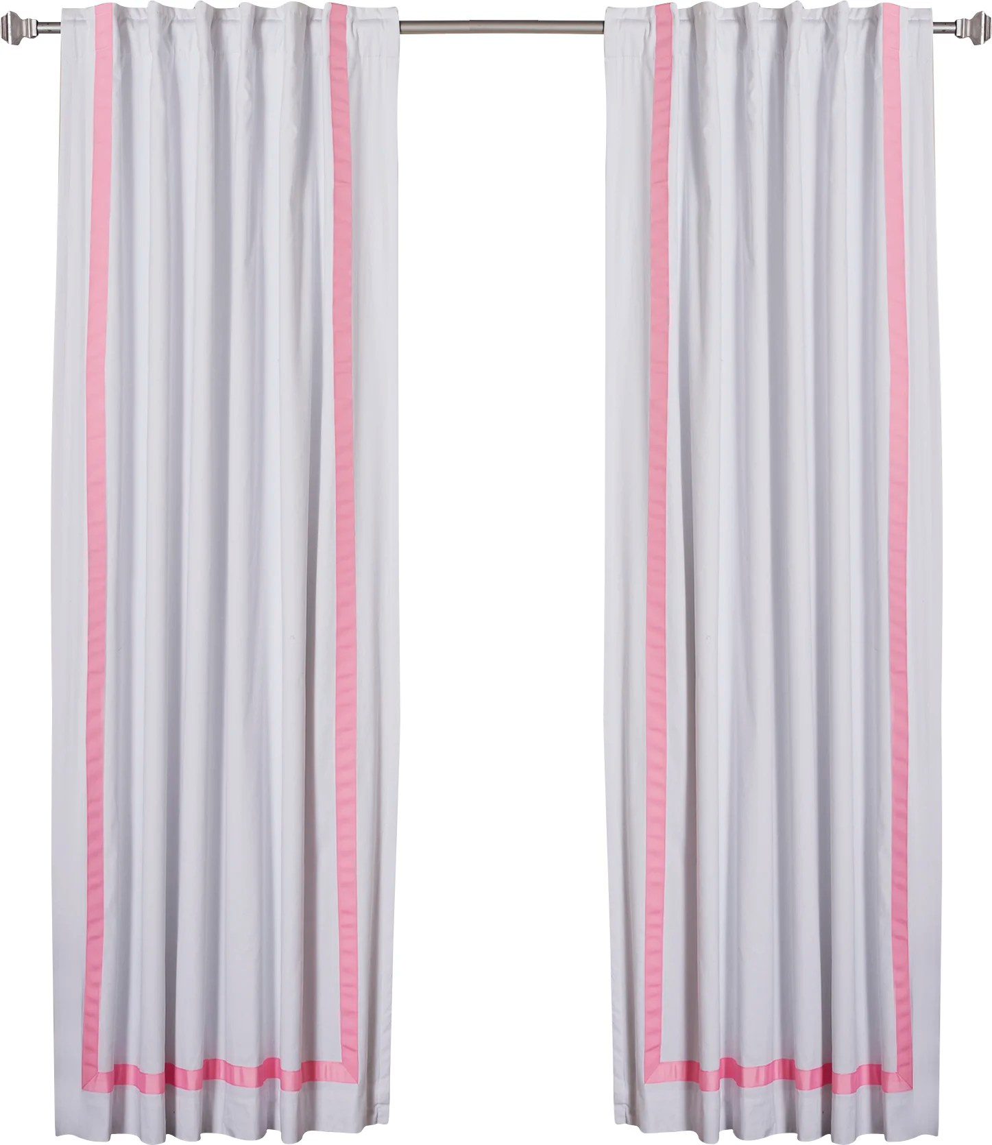 Ribbon Trim Curtains Grosgrain Ribbon Striped Blackout Thermal Rod Pocket Curtain Panels