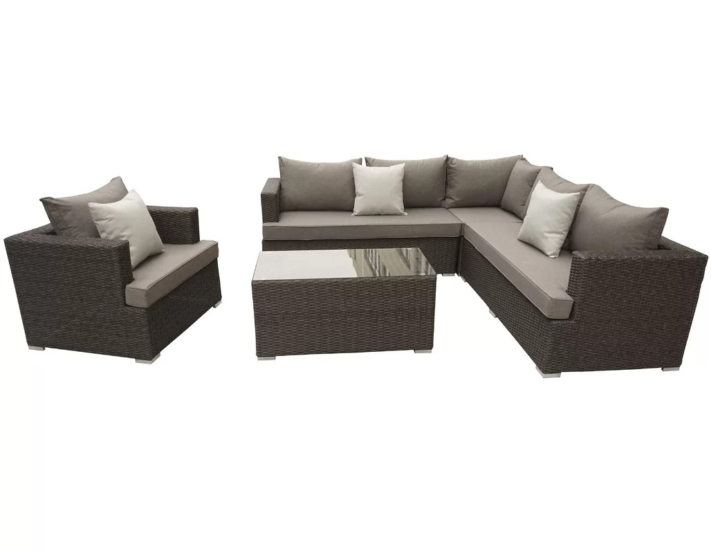 Best Price Josi 5 Piece Rattan Sectional Set With Cushions