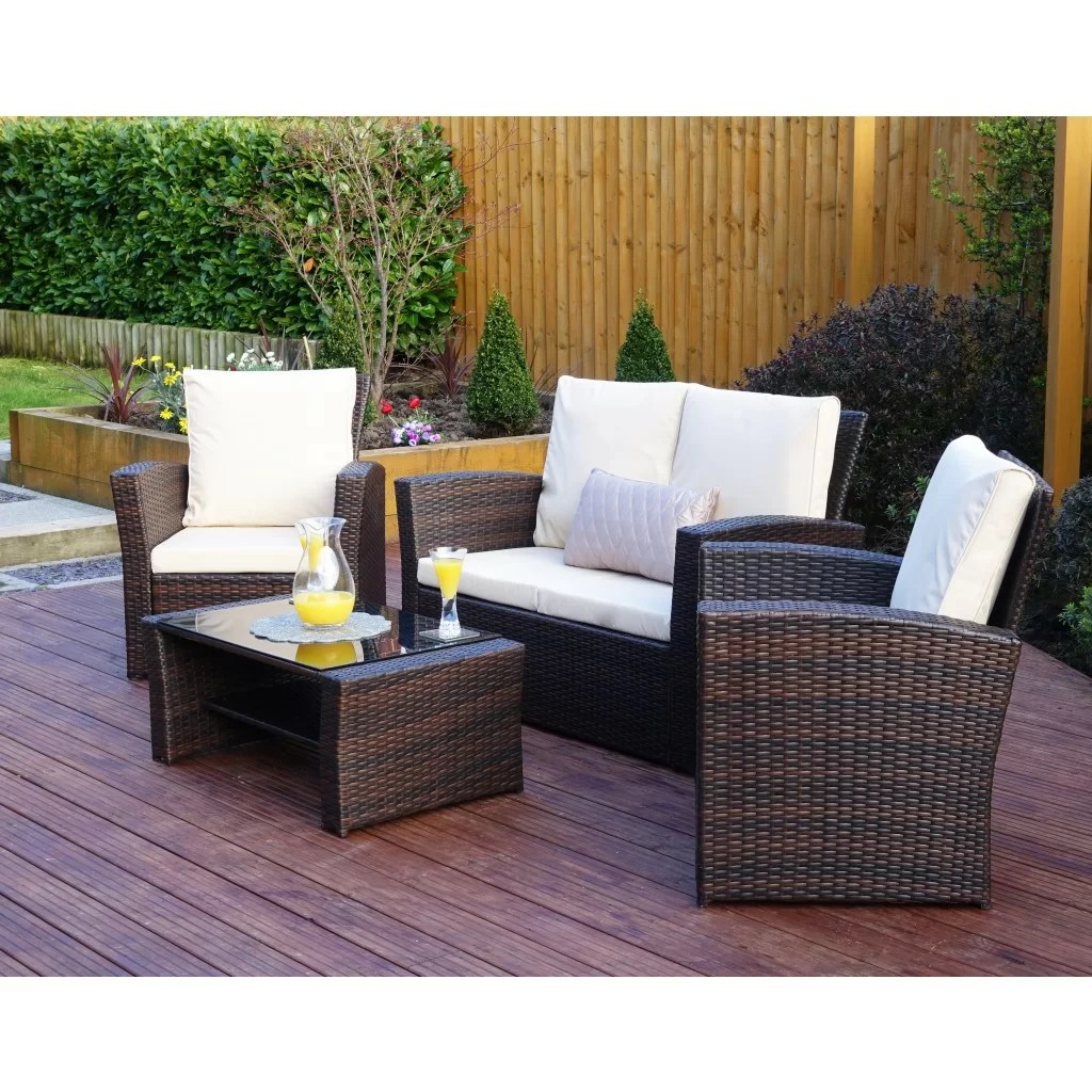 Owen 5 Piece Rattan Sofa Set With Cushions Algarve 4 Seater Rattan Sofa Set