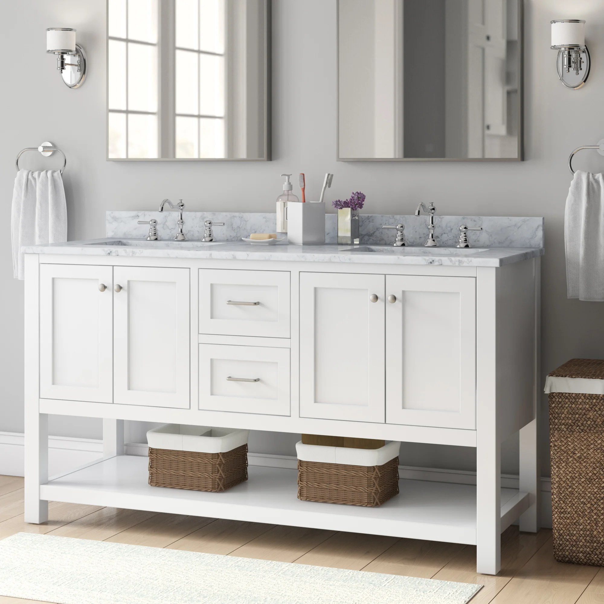 Charlton Home Ensemble De Meuble Lavabo De Salle De Bain Double 60 Po Daughtry Et Commentaires Wayfair Ca