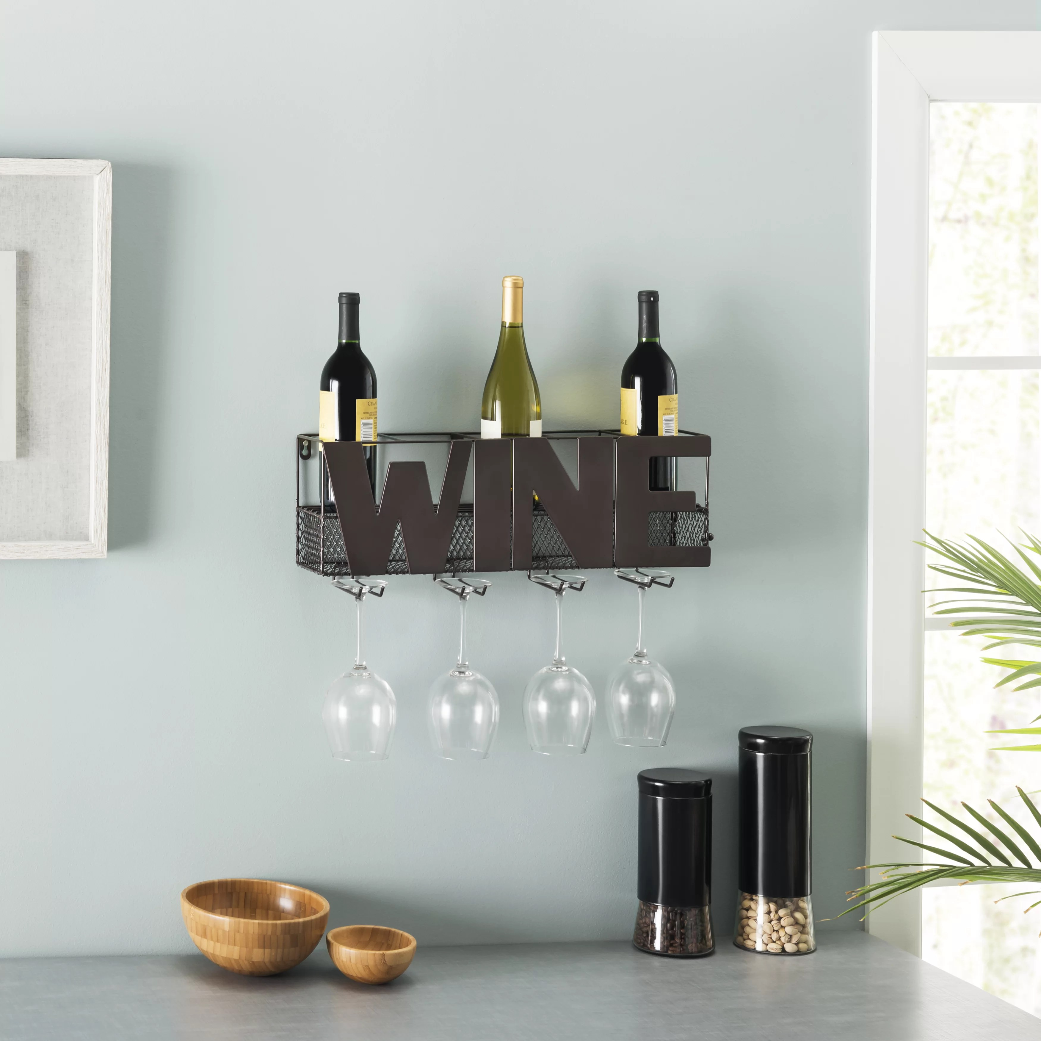 Decorative Metal Wine Racks Onika Decorative Metal 5 Bottle Wall Mounted Wine Rack