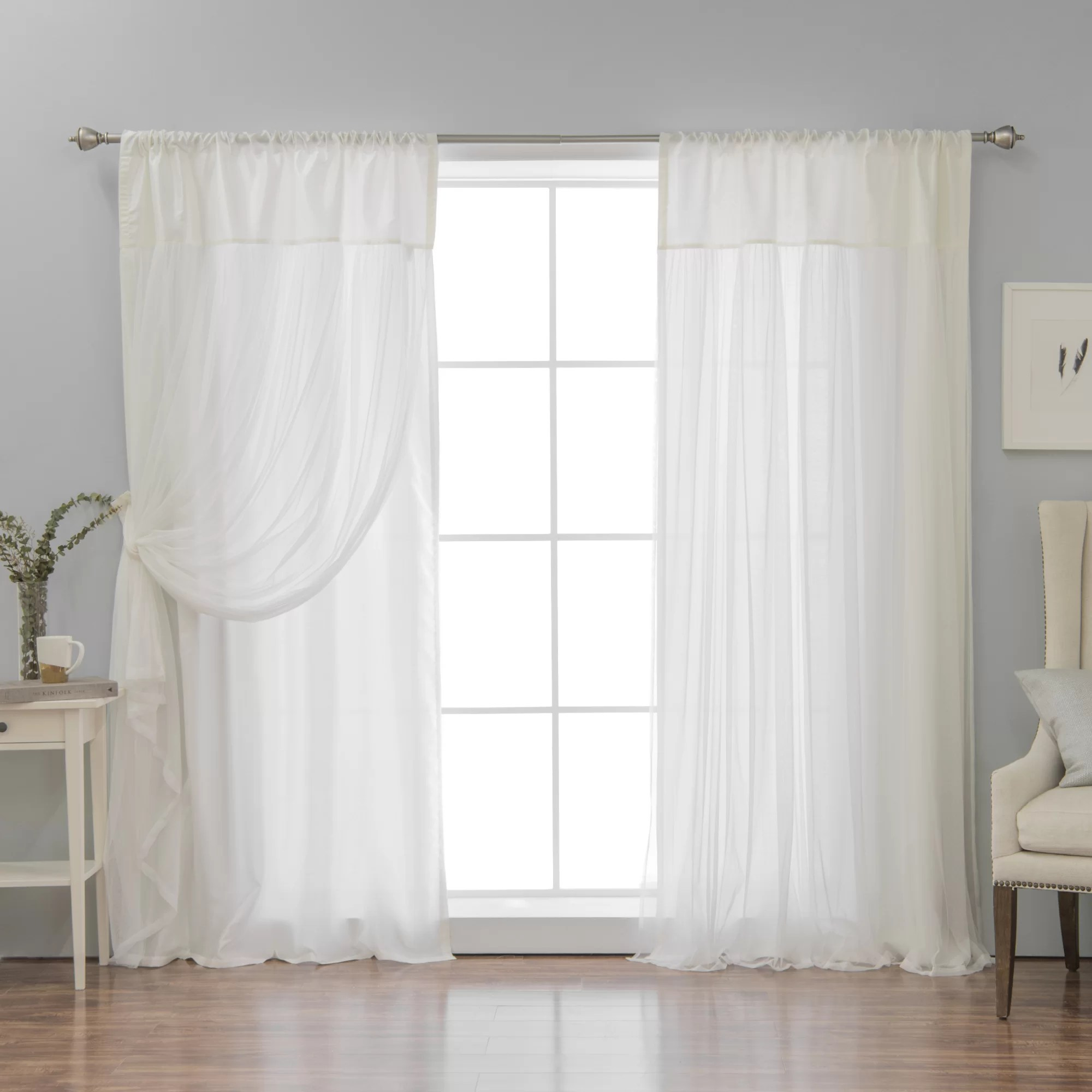 Faux Silk Curtains Ariella Faux Silk Tulle Overlay Solid Semi Sheer Thermal Rod Pocket Curtain Panels