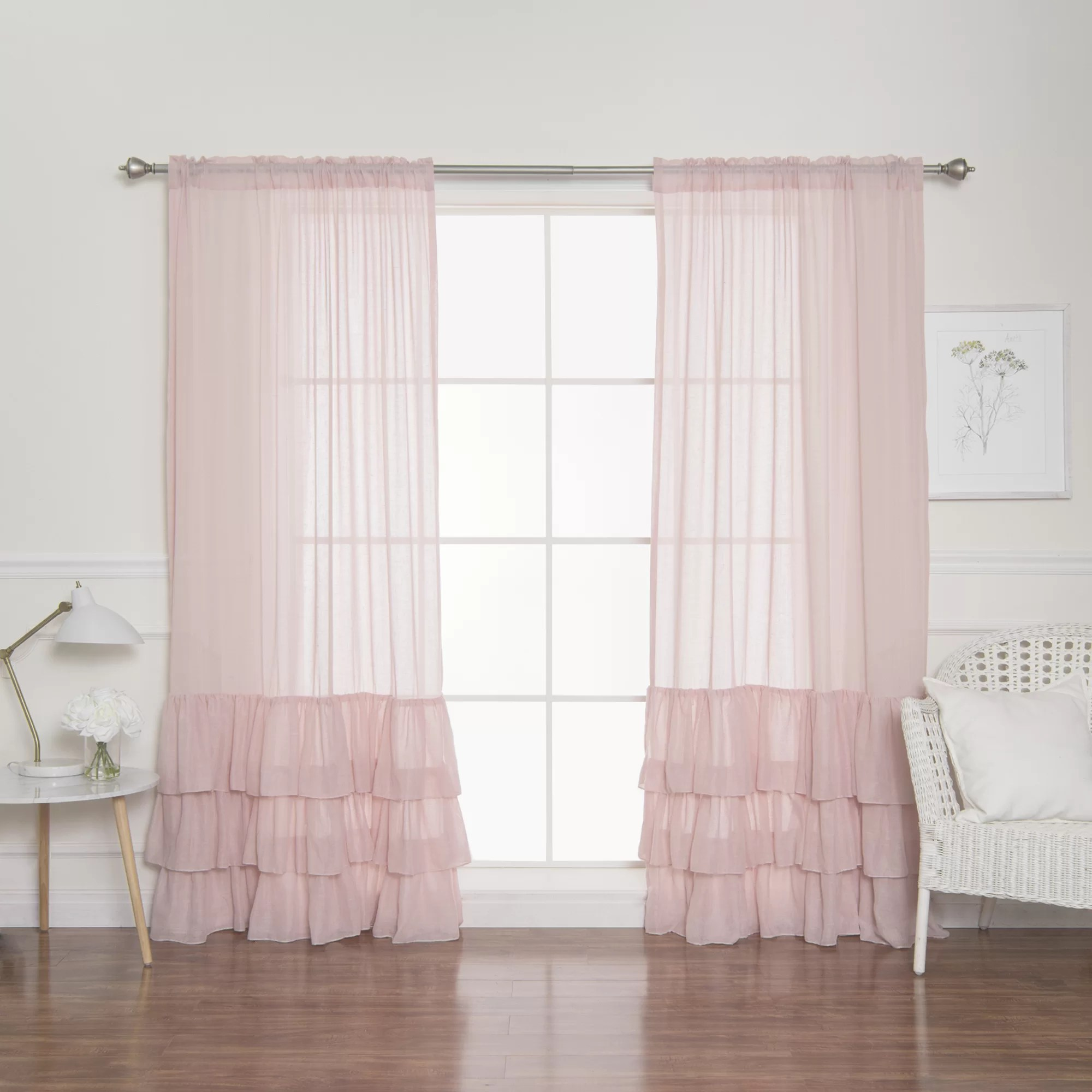 Ruffle Curtain Panel Neuville Ruffle Solid Semi Sheer Rod Pocket Curtain Panels