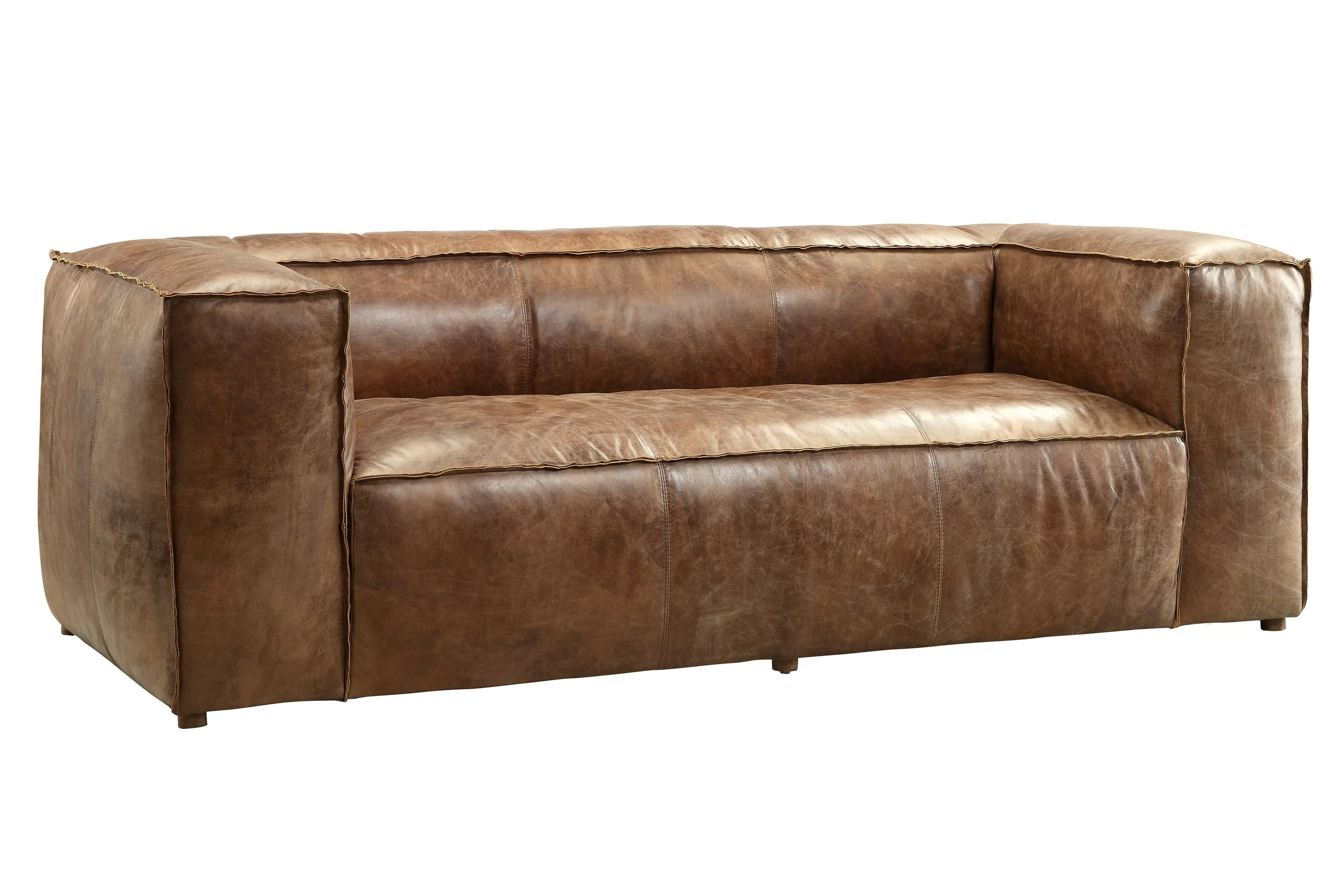 Brown Real Leather Couch Annessia Leather Sofa