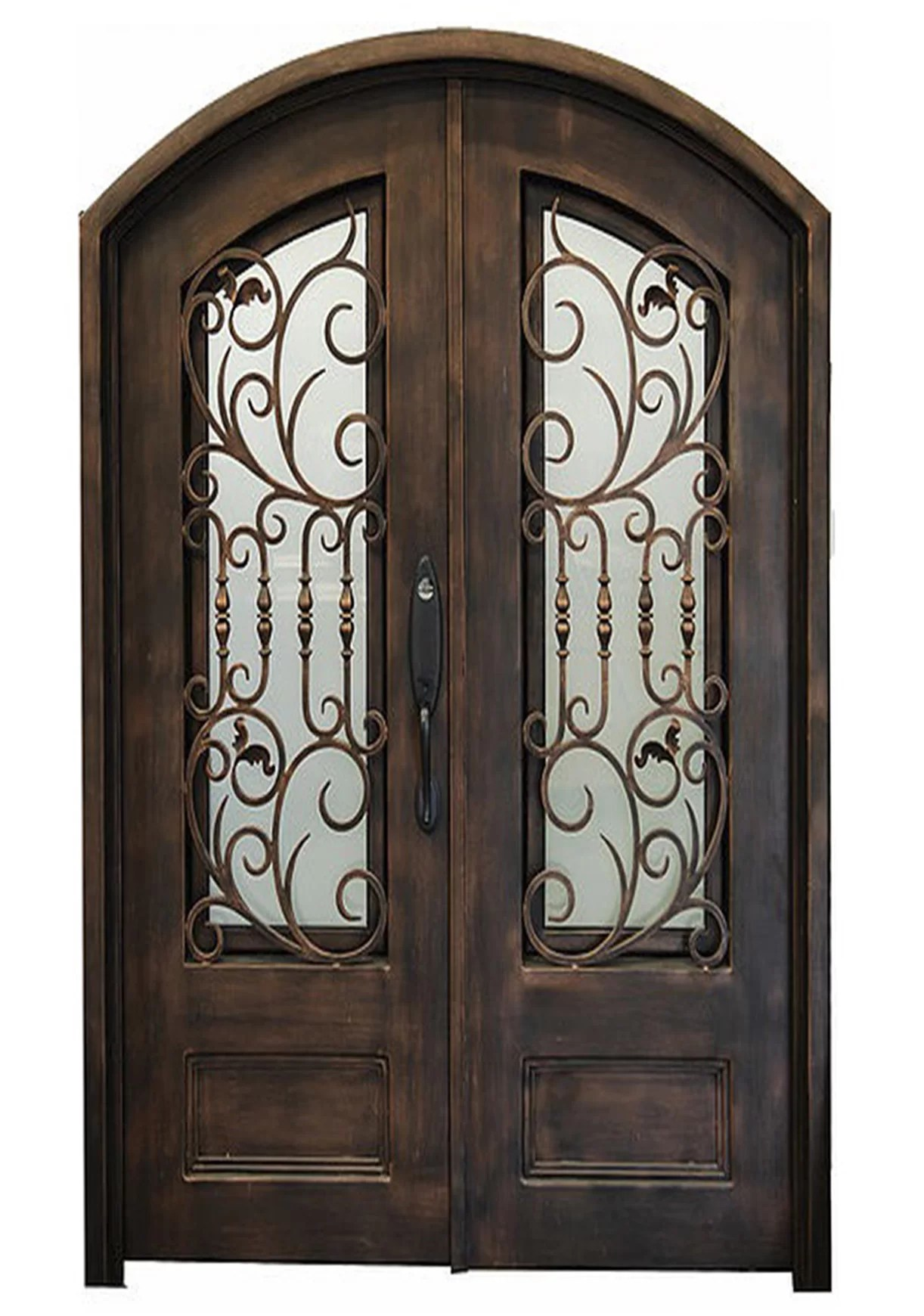 Glass Entry Doors Nicolae Premium Eyebrow Arched Glass Iron Prehung Front Entry Door