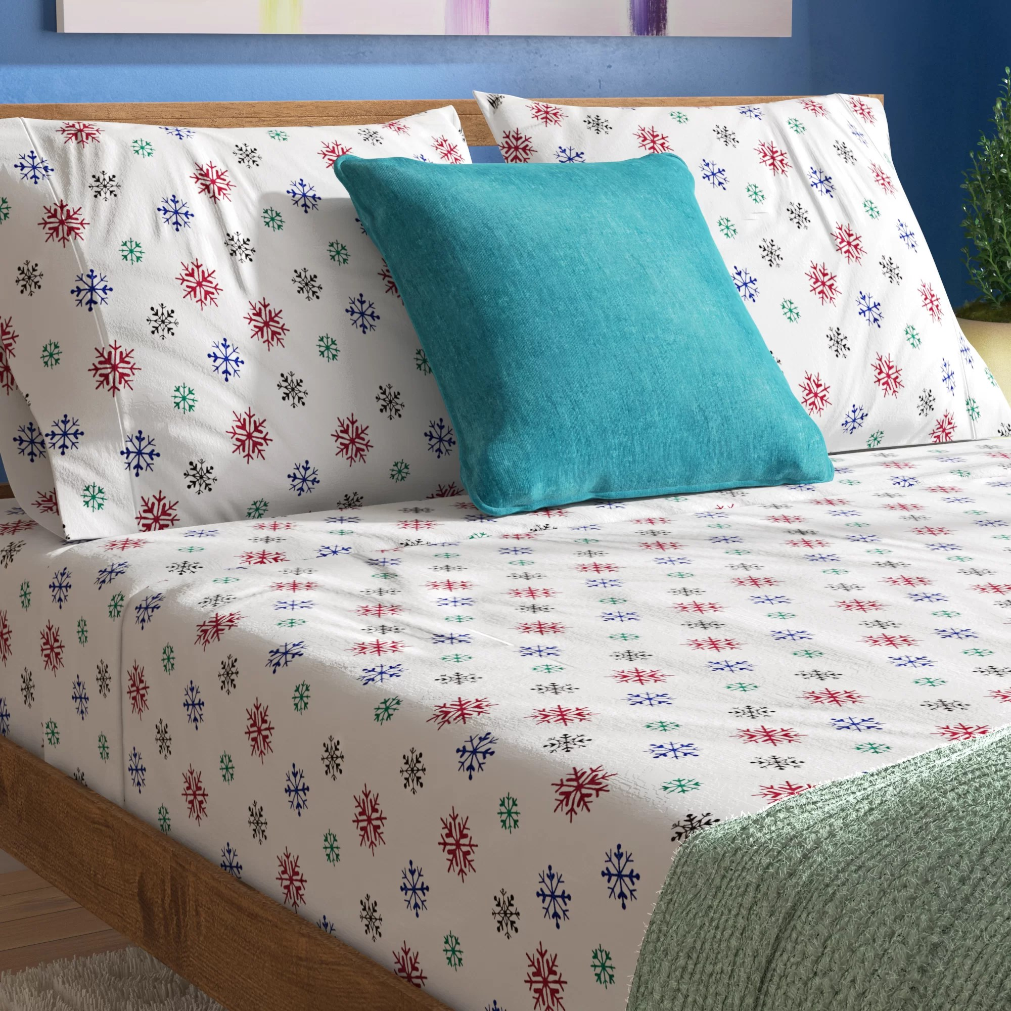 Printed Sheet Sets Godalming Heavy Weight Snow Flakes Printed Flannel Sheet Set