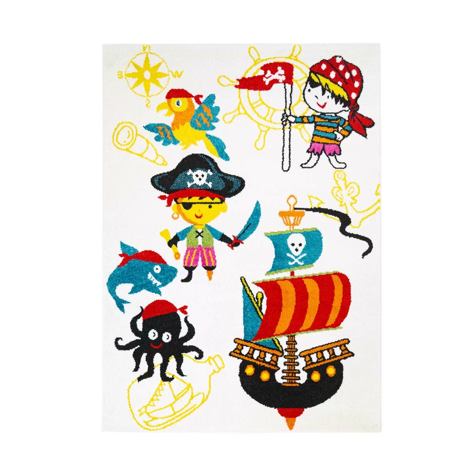 Hochflor Teppich Graphic Star Pirate Pirate Ship Yellow Blue Red Rug