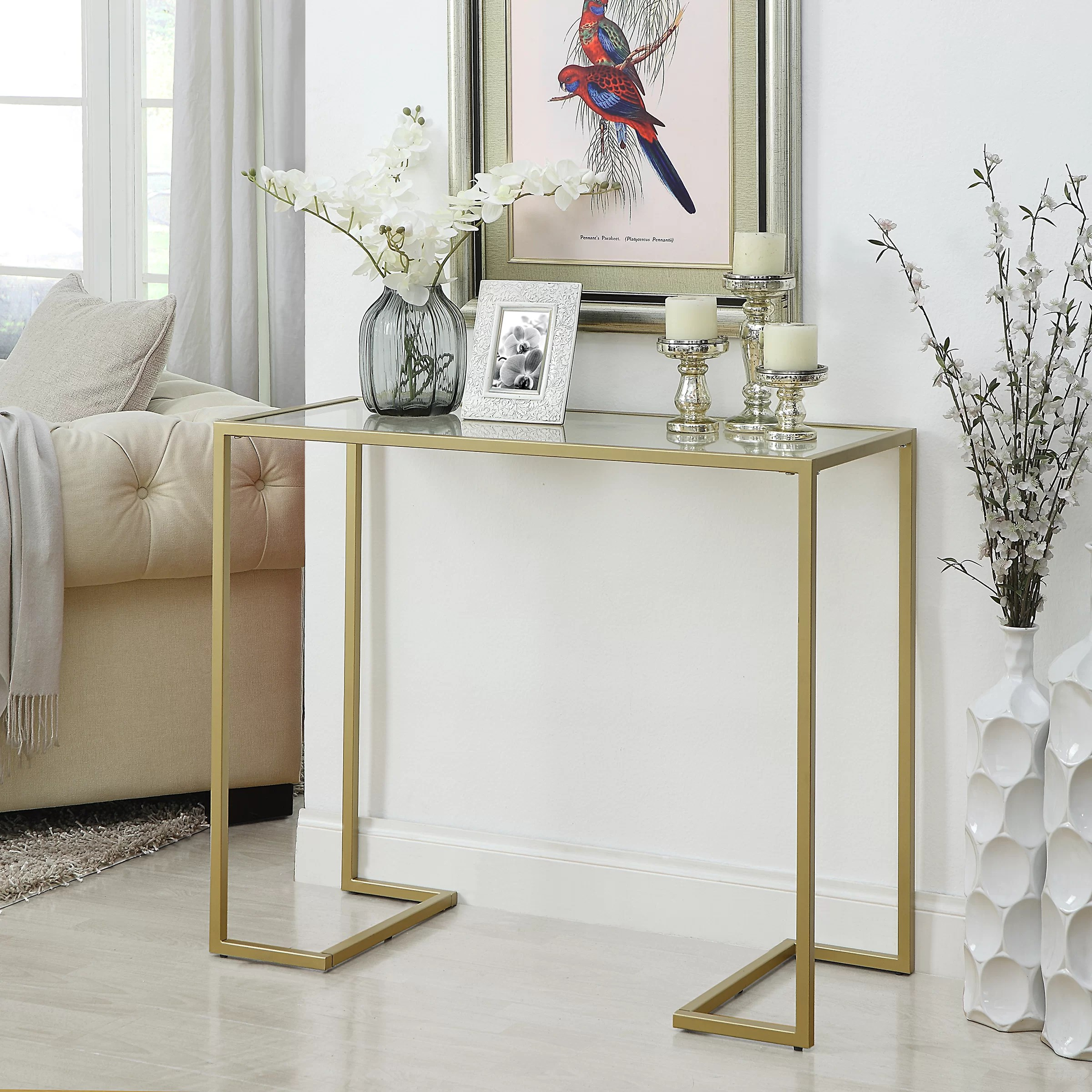 Glass Top Console Table Royalston Glass Top Console Table
