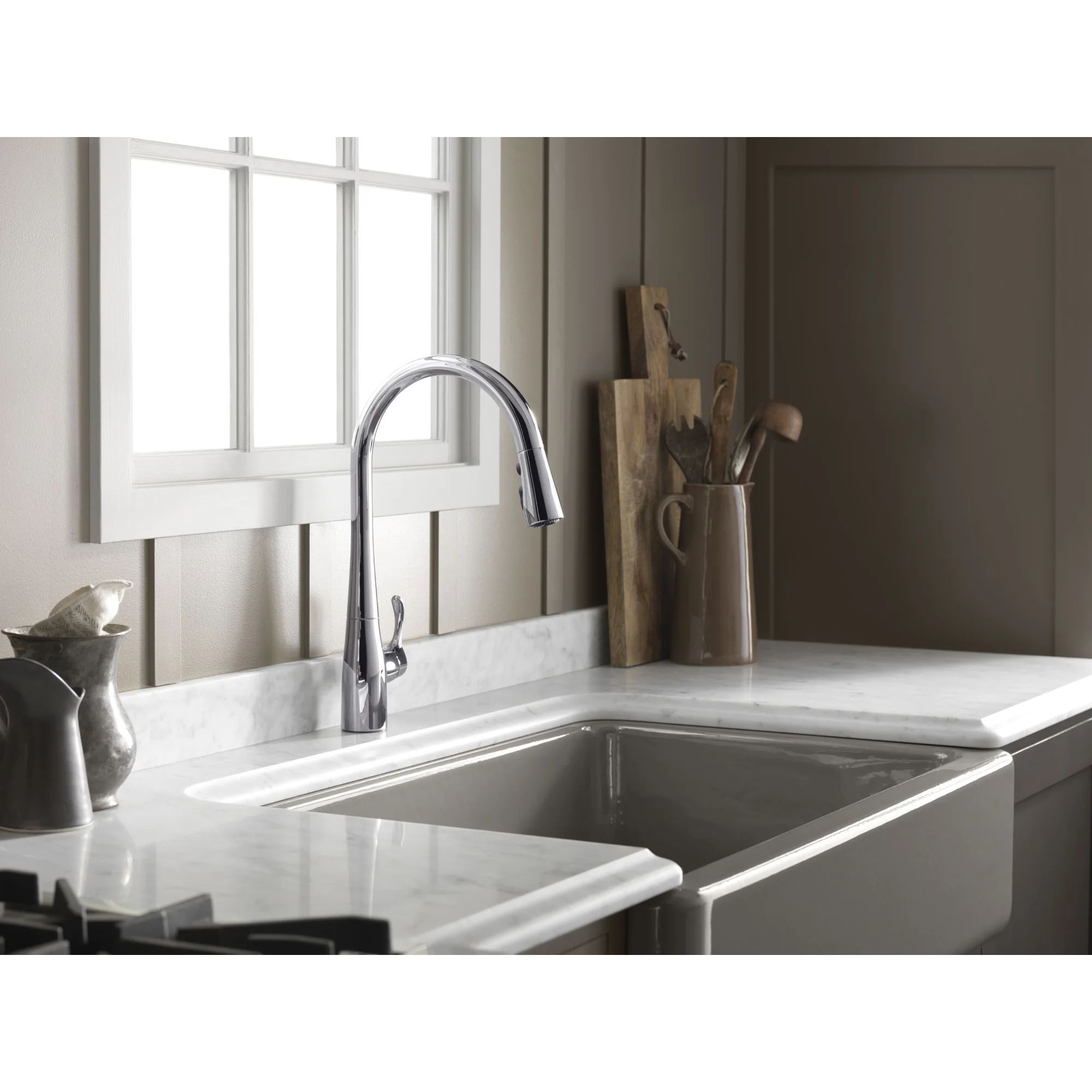 Simplice kitchen sink faucet with 16 5 8 pull down spout