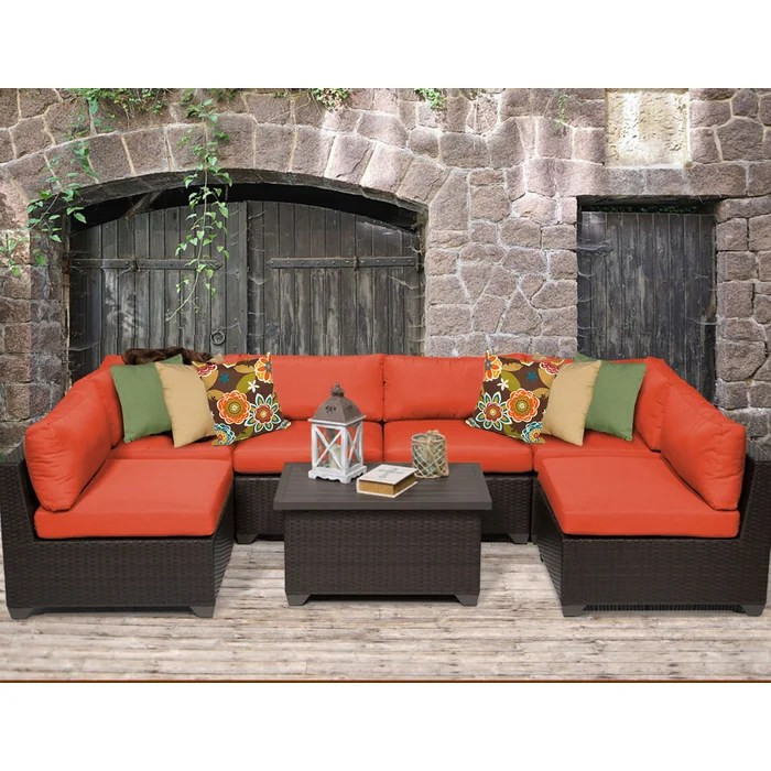 TK Classics Belle 7 Piece Sectional Seating Group with Cushion - 7 piece living room set