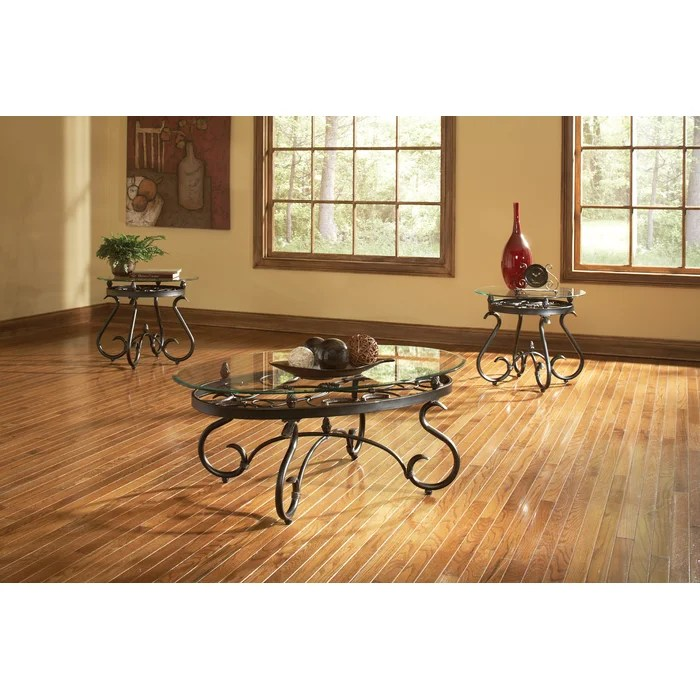Andover Mills Merrimack 3 Piece Coffee Table Set \ Reviews Wayfair - 3 piece living room table set