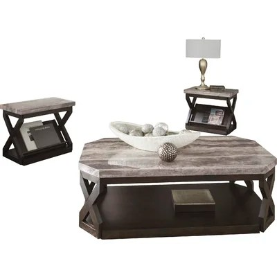 Latitude Run Kelton 3 Piece Coffee Table Set \ Reviews Wayfair - 3 piece living room table set