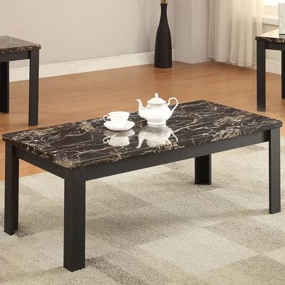 ACME Furniture Carly Faux Marble 3 Piece Coffee Table Set - 3 piece living room table set