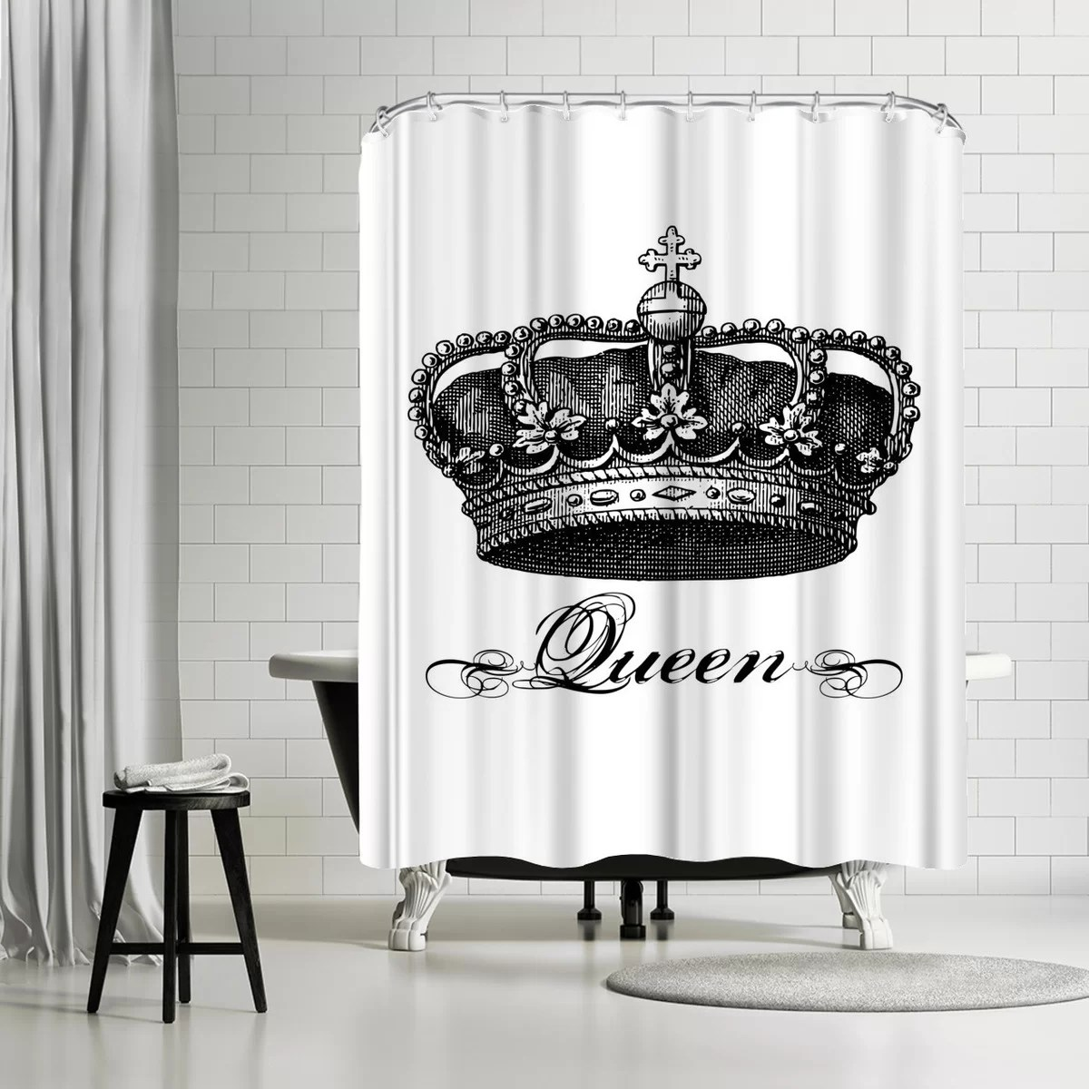 Black Queen Shower Curtain Details About East Urban Home Amy Brinkman Crown Queen Black Single Shower Curtain