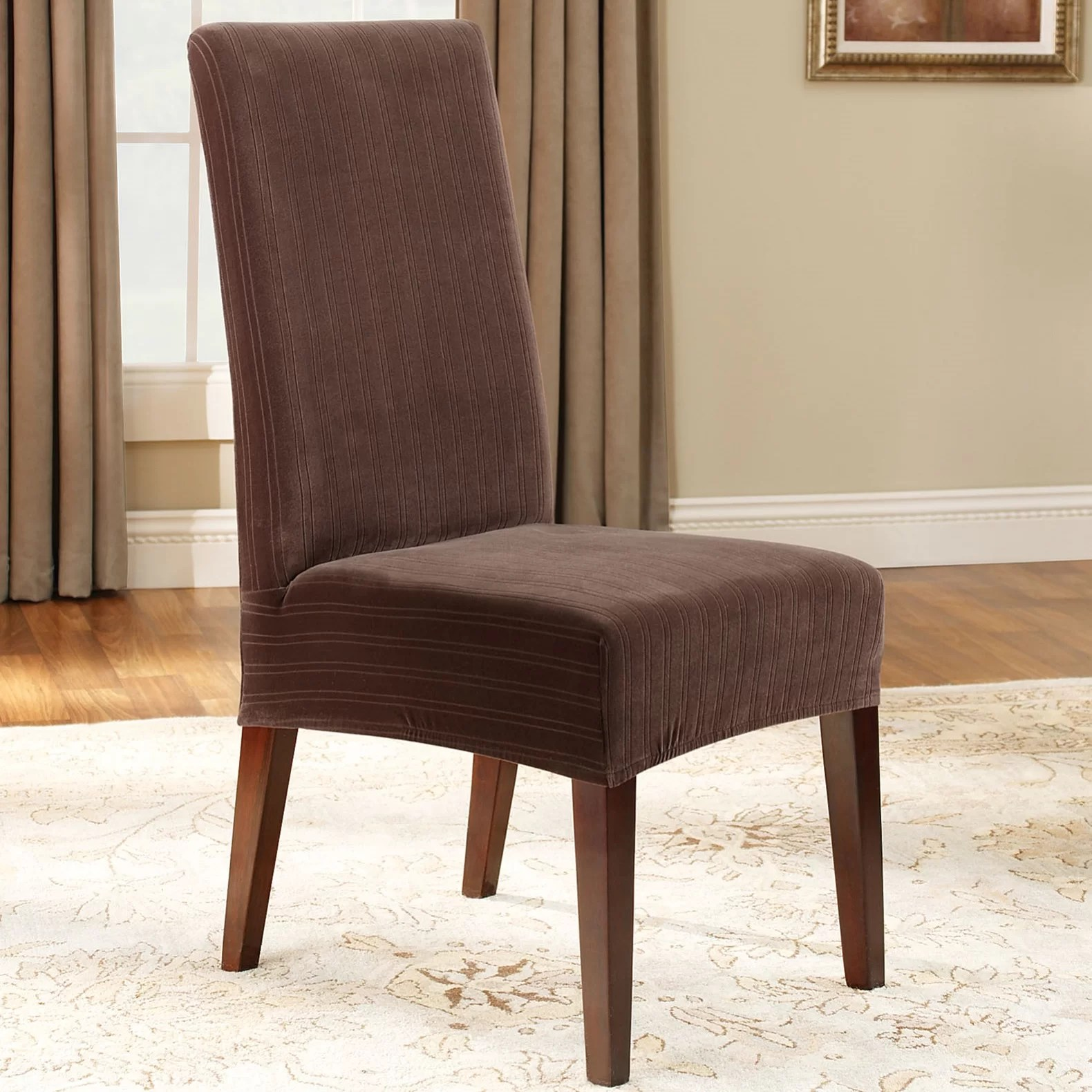 kitchen dining chair slipcovers c wayfair kitchen chairs QUICK VIEW Stretch Pinstripe Dining Chair Slipcover