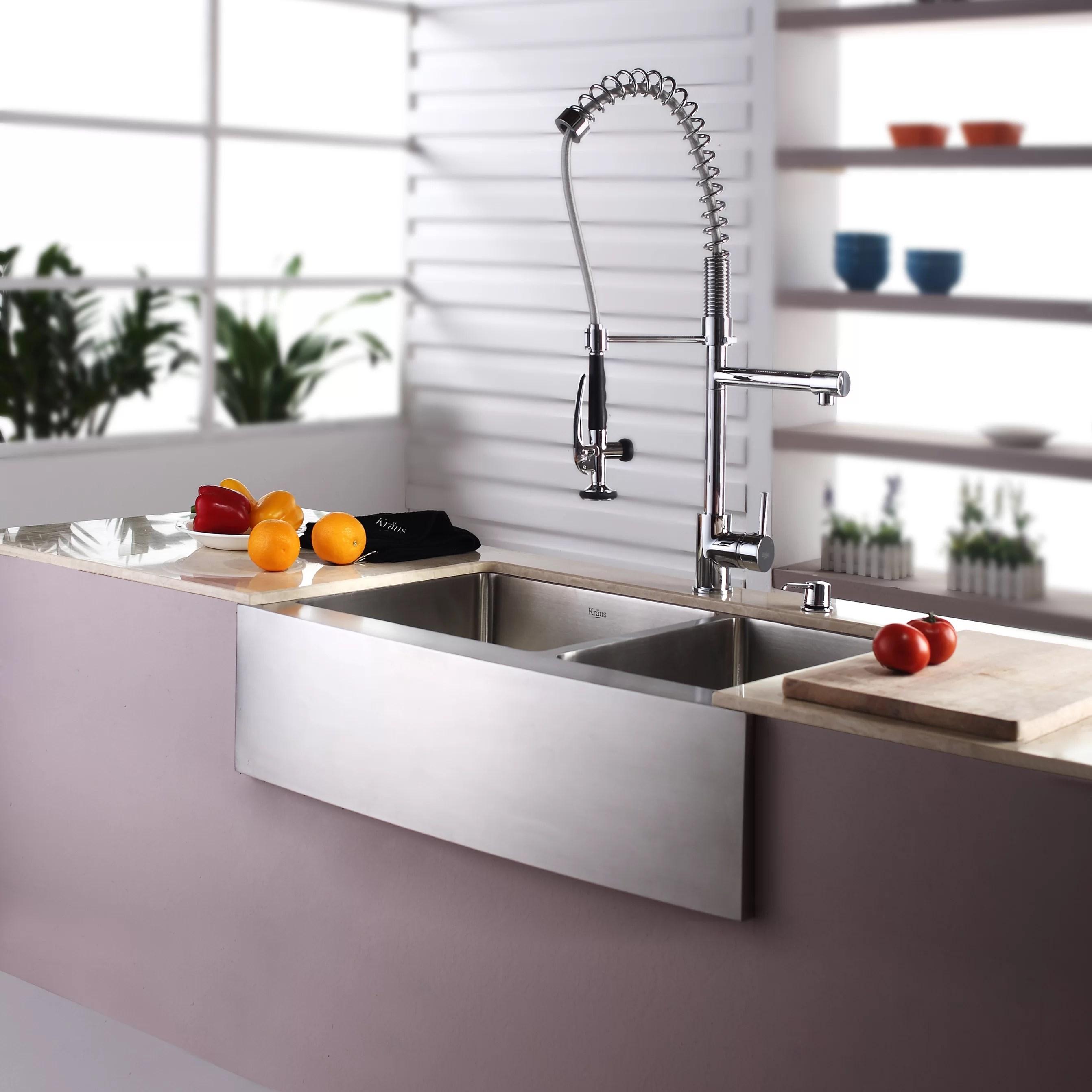Kraus 3288quot X 2075quot Farmhouse Double Basin Kitchen Sink