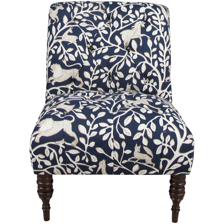Blue tufted slipper chair -  Tufted Slipper Chair Download