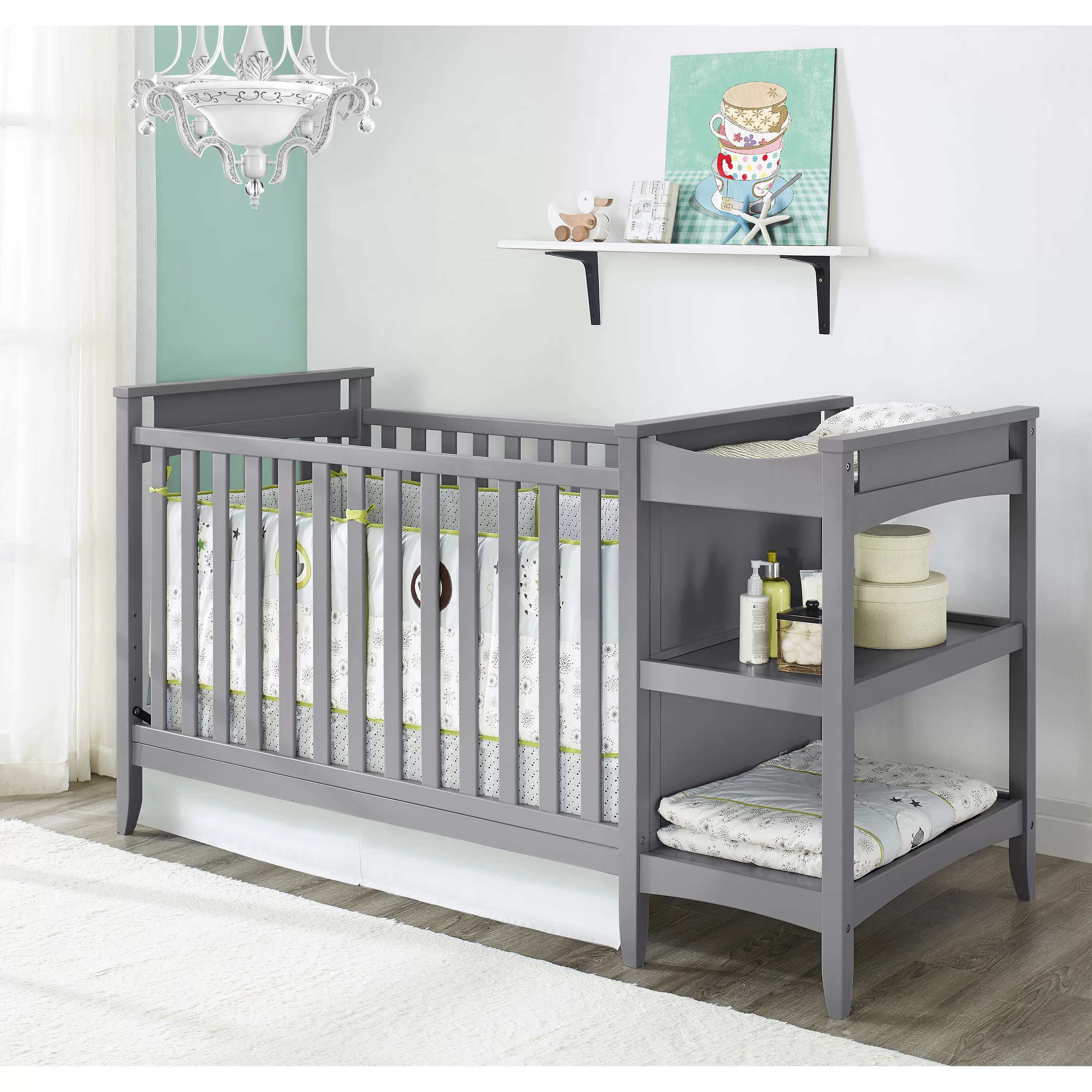 Baby relax emma 2 in 1 convertible crib with changing table