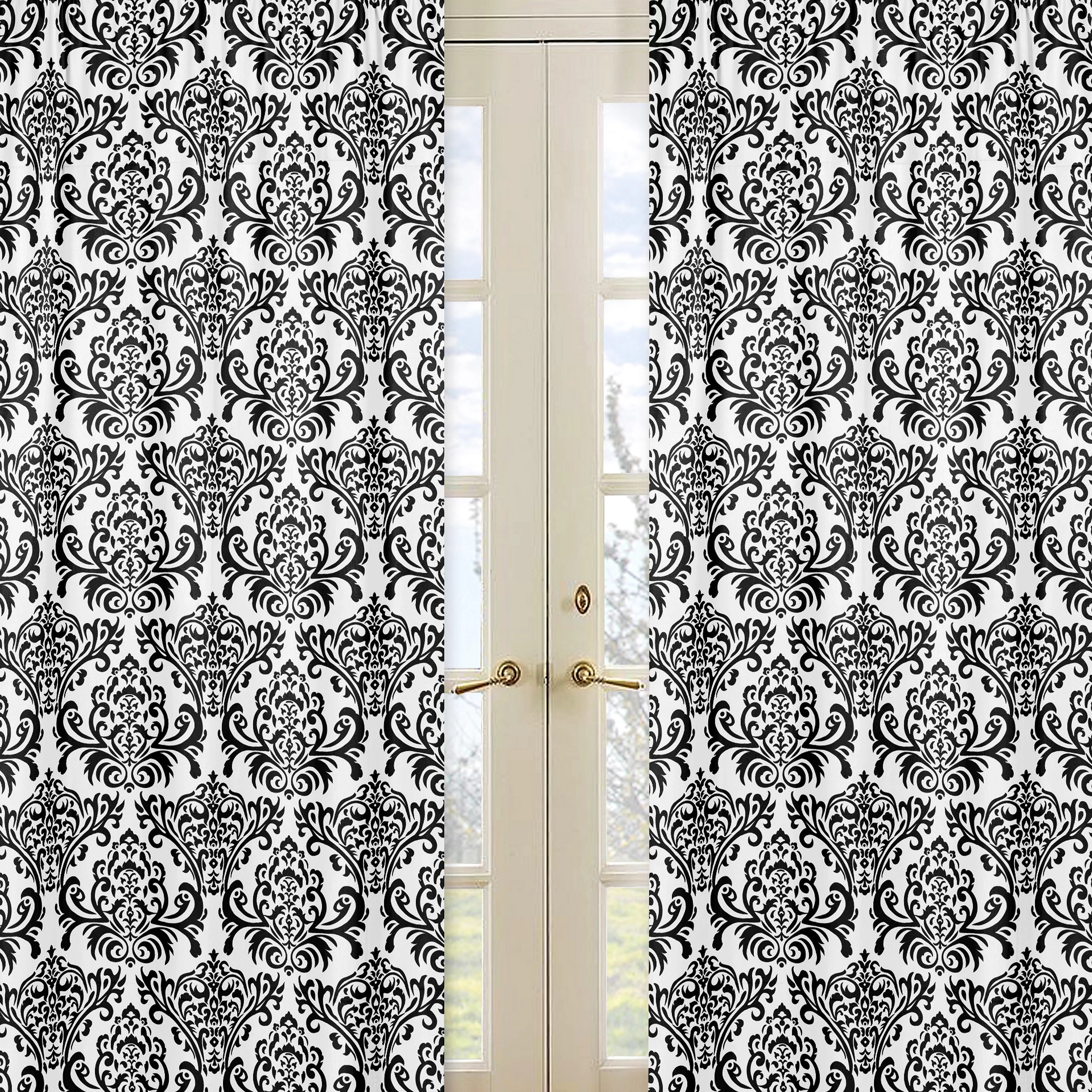 Gray and white damask curtains - Gray And White Damask Curtains Sweet Jojo Designs Isabella Curtain Panels