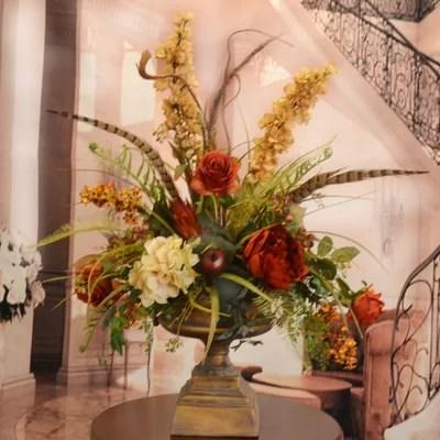 Floral Home Decor Large Silk Flower Arrangement with Feathers - silk arrangements for home decor