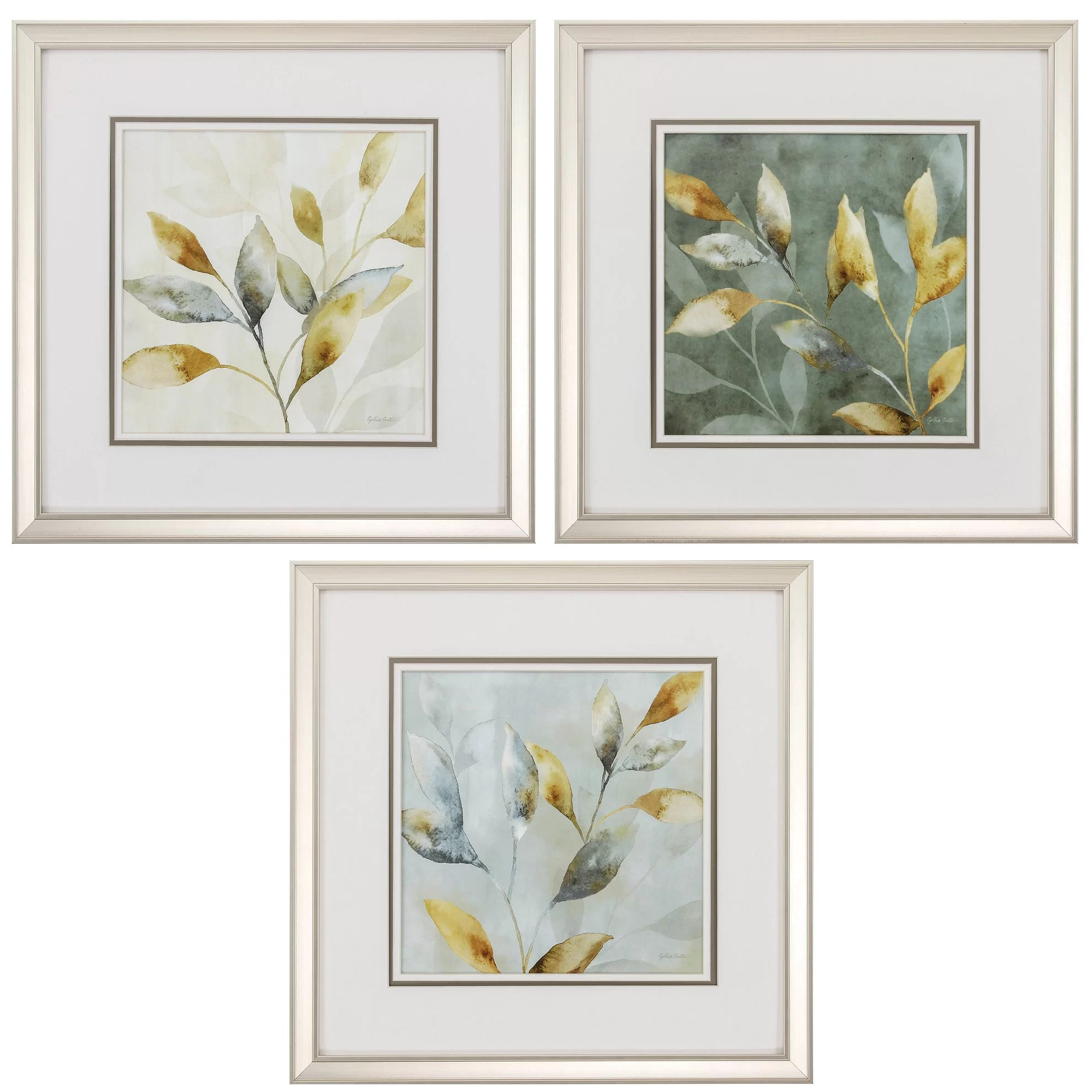 Framed Wall Art Sets Of 3 Propac Images Majestic Leaves 3 Piece Framed Graphic Art